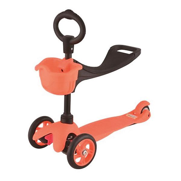 Самокат 3-х колёсный с сидением Maxi Scooter, оранжевый, 21st scooTerСамокаты<br>Характеристики товара:<br><br>• возраст: от 1 года;<br>• максимальная нагрузка: 30 кг;<br>• материал: пластик, алюминий;<br>• материал колес: полиуретан;<br>• диаметр передних колес: 120 мм;<br>• диаметр заднего колеса: 80 мм;<br>• размер деки: 52х11 см;<br>• размер самоката: 67х23х53,5 см;<br>• вес самоката: 2,8 кг;<br>• размер упаковки: 61х45х39 см;<br>• вес упаковки: 3 кг;<br>• страна производитель: Китай.<br><br>Самокат трехколесный с сидением Maxi Scooter 21st ScooTer оранжевый позволит весело и активно провести время на прогулке и поспособствует физическому развитию ребенка. Самокат подойдет для детей, которые только учатся кататься на самокате. <br><br>Для самых маленьких на самокат крепится сидение. Сидя на нем, малыш отталкивается от земли и осваивает базовые навыки катания. Затем сидение снимается, и самокат используется в качестве традиционного самоката.<br><br>Платформа выполнена из прочного пластика с рифленой поверхностью. Подшипники позволяют смягчить тряску по неровному дорожному покрытию. На руле имеется небольшая корзинка для мелочей и игрушек.<br><br>Самокат трехколесный с сидением Maxi Scooter 21st ScooTer оранжевый можно приобрести в нашем интернет-магазине.<br>Ширина мм: 610; Глубина мм: 450; Высота мм: 390; Вес г: 3100; Возраст от месяцев: 24; Возраст до месяцев: 2147483647; Пол: Унисекс; Возраст: Детский; SKU: 5475701;