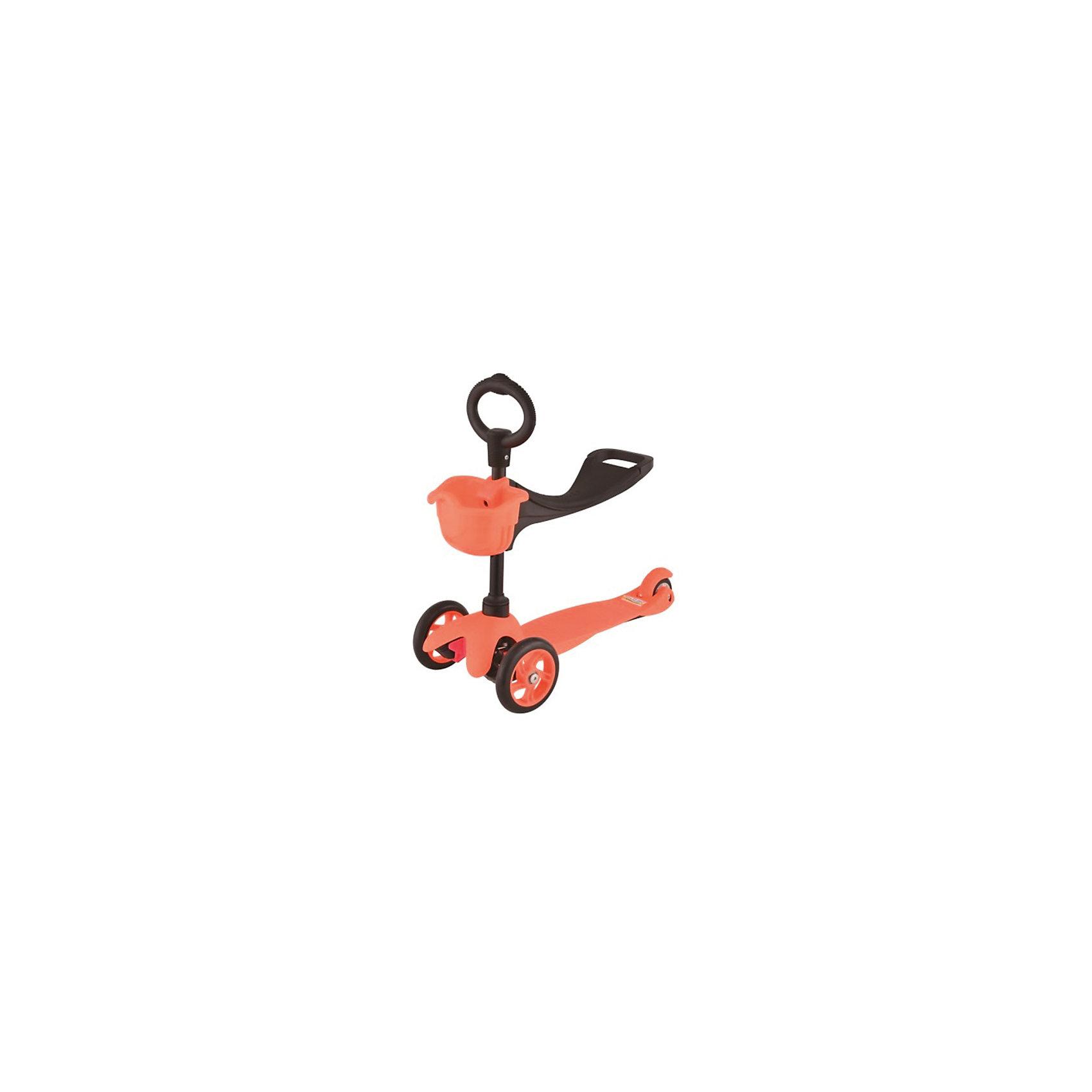 Самокат 3-х колёсный с сидением Maxi Scooter, оранжевый, 21st scooTerСамокаты<br>21scooter MaxiScooter (SKL-06B) - детский трехколесный самокат со съемным седлом и корзинкой. Самокаты серии micro от фирмы 21st scooter - это самокаты нового поколения. Они имеют улучшенную конструкцию и более высокие технические показатели.Ребенок сидит на сиденье и продвигается вперед, отталкиваясь ножками, точно так же, как на беговеле или машине-каталке. К тому же, сидение можно регулировать по высоте под рост ребенка в 2-х положениях. Как только ребенок почувствует себя более уверенно на ногах, самокат можно использовать как обычный с низкой О-образной ручкой.Размер платформы: 52 x 11 см.Диаметр передних колес: 12.5 см.Диаметр заднего колеса: 8 см.Тип подшипников: Abec-7.Максимальная нагрузка на платформу: 30 кг.Максимальная нагрузка на сиденье: 20 кг.<br>Высота руля: 67 см<br><br>Ширина мм: 610<br>Глубина мм: 450<br>Высота мм: 390<br>Вес г: 3100<br>Возраст от месяцев: 24<br>Возраст до месяцев: 2147483647<br>Пол: Унисекс<br>Возраст: Детский<br>SKU: 5475701