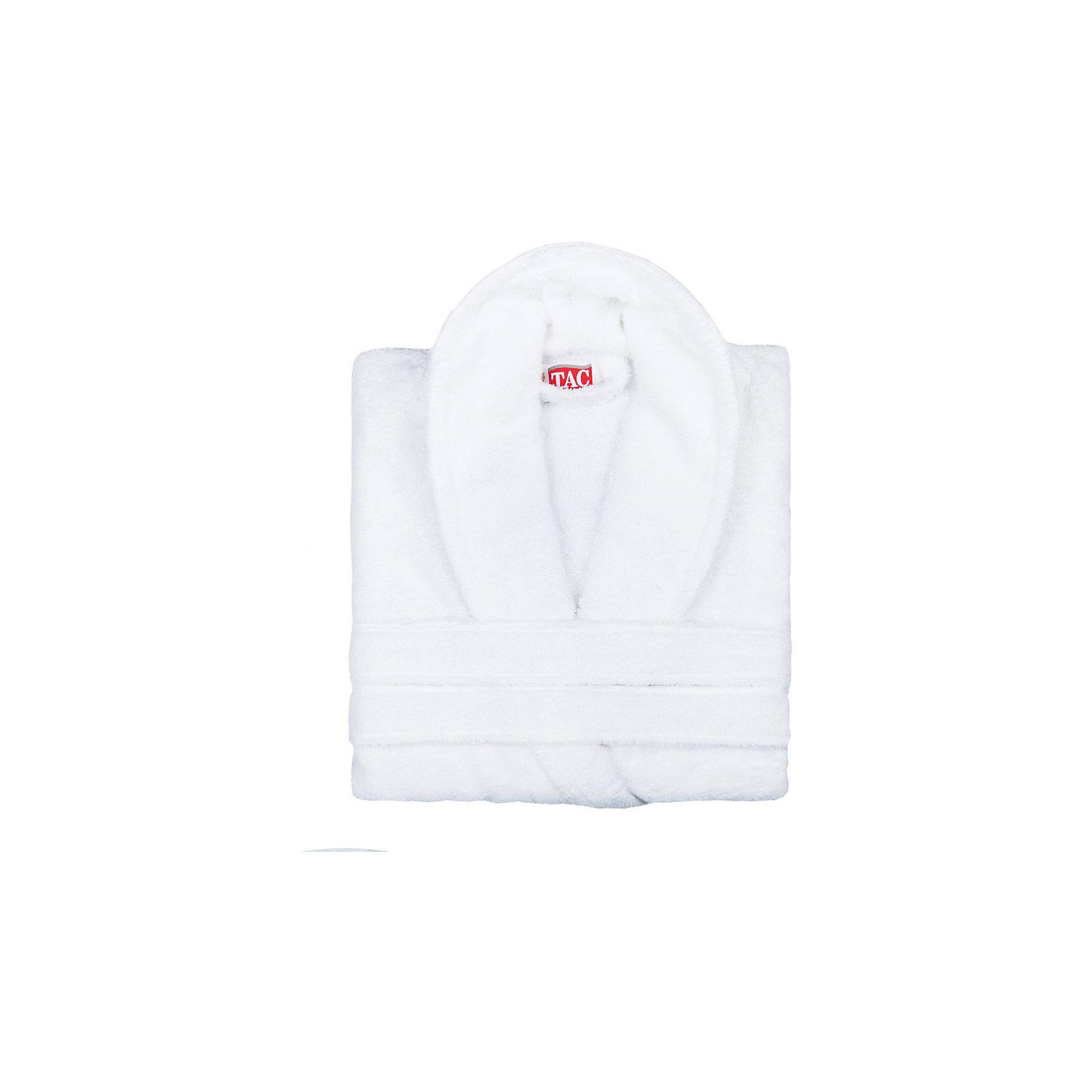Халат махровый Maison Bambu, L/XL, TAC, белый (beyaz)Характеристики:<br><br>• Вид домашнего текстиля: махровый халат<br>• Размер международный/российский: L/XL<br>• Пол: унисекс<br>• Рисунок: без рисунка<br>• Материал: хлопок, 50% хлопок; бамбук, 50%<br>• Цвет: белый<br>• Плотность полотна: 320 гр/м2 <br>• Силуэт: прямой<br>• Рукав: длинный<br>• Воротник: отложной<br>• Застежка: пояс<br>• Вес в упаковке: 1 кг 130 г<br>• Размеры упаковки (Д*Ш*В): 40*10*32 см<br>• Особенности ухода: машинная стирка <br><br>Халат махровый Maison Bambu, L/XL, TAC, белый (beyaz) от наиболее популярного бренда на отечественном рынке среди производителей комплектов постельного белья и текстильных принадлежностей, выпуском которого занимается производственная компания, являющаяся частью мирового холдинга Zorlu Holding Textiles Group. Халат выполнен из сочетания натурального хлопка и бамбукового волокна, что обеспечивает гипоаллергенность, высокую износоустойчивость, повышенные гигкоскопические и антибактериальные свойства изделия. Благодаря высокой степени плотности махры, халат отлично впитывает влагу, но при этом остается мягким. <br><br>Ворс окрашен стойкими нетоксичными красителями, который не оставляет запаха и обеспечивает ровный окрас. Изделие сохраняет свой цвет и форму даже при частых стирках. Халат прямого кроя с длинными рукавами и отложным воротником идеально подходит для посещения бани или сауны, а в прохладные вечера обеспечит комфорт и уют своему владельцу. Выполнен в белом цвете без рисунка.<br><br>Халат махровый Maison Bambu, L/XL, TAC, белый (beyaz) можно купить в нашем интернет-магазине.<br><br>Ширина мм: 290<br>Глубина мм: 90<br>Высота мм: 400<br>Вес г: 1400<br>Возраст от месяцев: 216<br>Возраст до месяцев: 1188<br>Пол: Унисекс<br>Возраст: Детский<br>SKU: 5476363