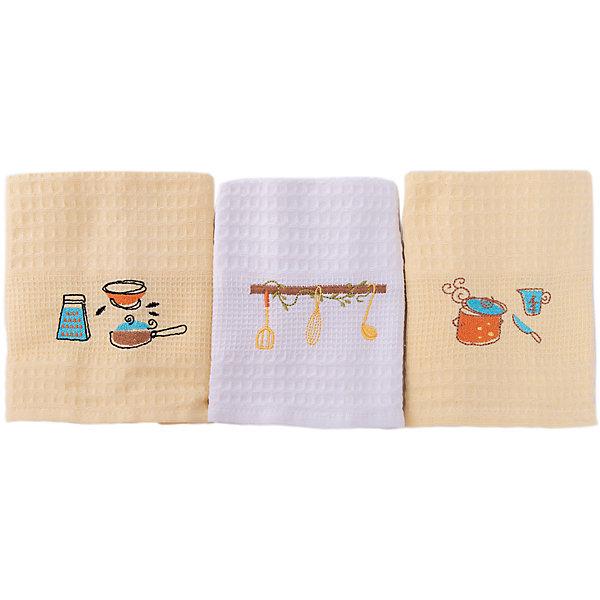 Набор кухонных полотенец 40*60, 3шт., TAC, посудаКухонная утварь<br>Характеристики:<br><br>• Вид домашнего текстиля: кухонное полотенце<br>• Размеры полотенца: 40*60 см<br>• Рисунок: посуда<br>• Декор: вышивка<br>• Материал: хлопок, 100% <br>• Цвет: белый, желтый<br>• Плотность полотна: 350 гр/м2 <br>• Комплектация: 3 полотенца<br>• Вес: 300 г<br>• Размеры упаковки (Д*Ш*В): 21*5*19 см<br>• Подарочная упаковка<br>• Особенности ухода: машинная стирка <br><br>Полотенца выполнены из натурального хлопка, что обеспечивает высокие впитывающие и износоустойчивые качества. Благодаря высокой степени плотности махры, изделия отлично впитывают влагу, легко отстирываются от пятен и не требуют глажки. В наборе одно полотенце белое, два – желтые, декорированы вышивкой. <br><br>Набор кухонных полотенец 40*60, 3шт., TAC, посуда можно купить в нашем интернет-магазине.<br>Ширина мм: 200; Глубина мм: 50; Высота мм: 180; Вес г: 600; Возраст от месяцев: 216; Возраст до месяцев: 1188; Пол: Унисекс; Возраст: Детский; SKU: 5476377;