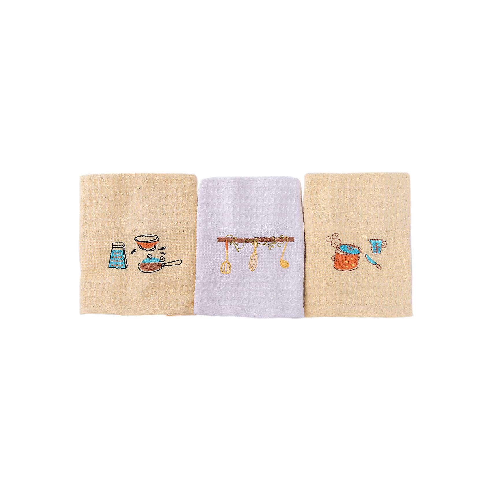 Набор кухонных полотенец 40*60, 3шт., TAC, посудаВанная комната<br>Характеристики:<br><br>• Вид домашнего текстиля: кухонное полотенце<br>• Размеры полотенца: 40*60 см<br>• Рисунок: посуда<br>• Декор: вышивка<br>• Материал: хлопок, 100% <br>• Цвет: белый, желтый<br>• Плотность полотна: 350 гр/м2 <br>• Комплектация: 3 полотенца<br>• Вес: 300 г<br>• Размеры упаковки (Д*Ш*В): 21*5*19 см<br>• Подарочная упаковка<br>• Особенности ухода: машинная стирка <br><br>Полотенца выполнены из натурального хлопка, что обеспечивает высокие впитывающие и износоустойчивые качества. Благодаря высокой степени плотности махры, изделия отлично впитывают влагу, легко отстирываются от пятен и не требуют глажки. В наборе одно полотенце белое, два – желтые, декорированы вышивкой. <br><br>Набор кухонных полотенец 40*60, 3шт., TAC, посуда можно купить в нашем интернет-магазине.<br><br>Ширина мм: 200<br>Глубина мм: 50<br>Высота мм: 180<br>Вес г: 600<br>Возраст от месяцев: 216<br>Возраст до месяцев: 1188<br>Пол: Унисекс<br>Возраст: Детский<br>SKU: 5476377