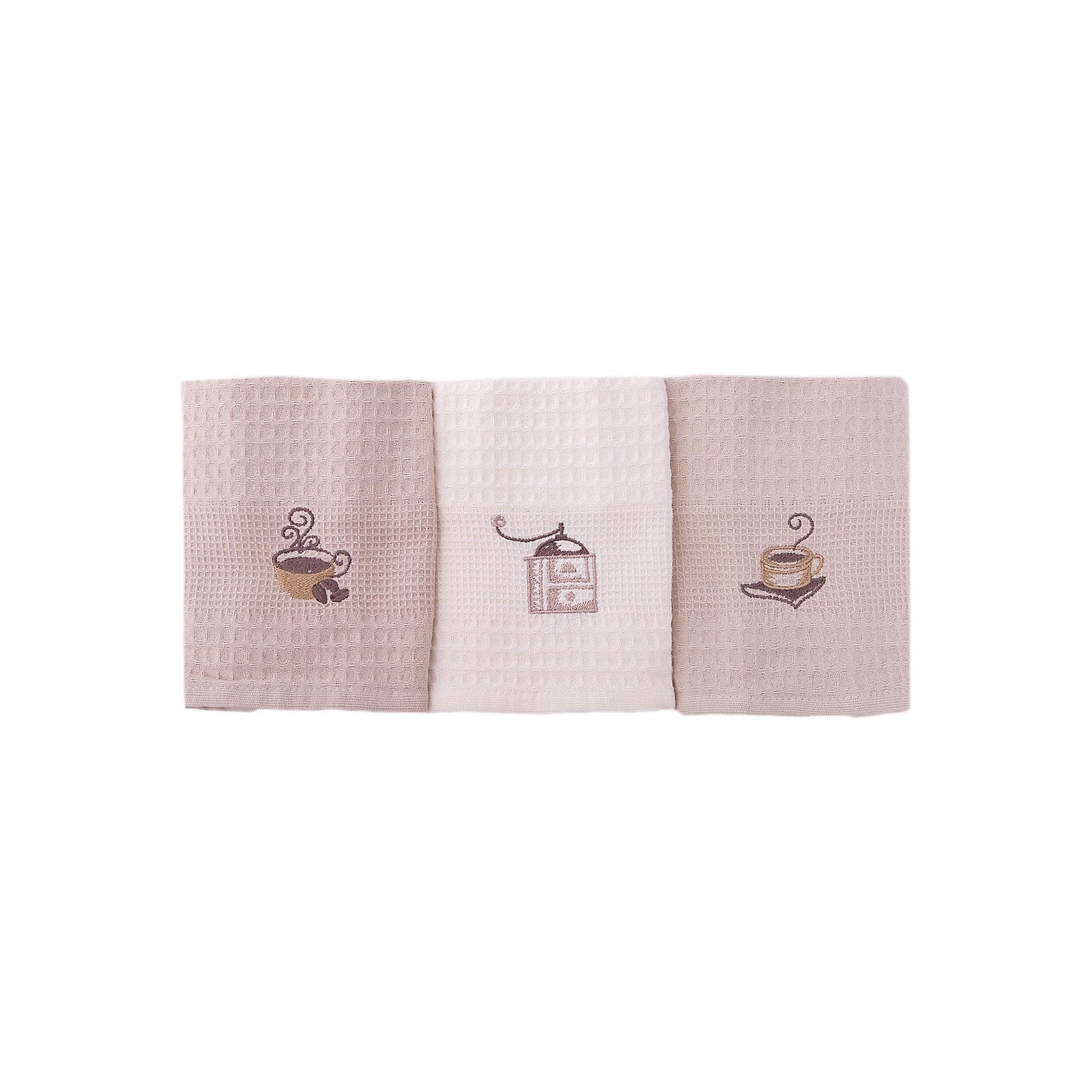 Набор кухонных полотенец 40*60, 3шт., TAC, кофеДомашний текстиль<br>Характеристики:<br><br>• Вид домашнего текстиля: кухонное полотенце<br>• Размеры полотенца: 40*60 см<br>• Рисунок: кофе<br>• Декор: вышивка<br>• Материал: хлопок, 100% <br>• Цвет: молочный, кофейный, бежевый<br>• Плотность полотна: 350 гр/м2 <br>• Комплектация: 3 полотенца<br>• Вес: 300 г<br>• Размеры упаковки (Д*Ш*В): 21*5*19 см<br>• Подарочная упаковка<br>• Особенности ухода: машинная стирка <br><br>Полотенца выполнены из натурального хлопка, что обеспечивает высокие впитывающие и износоустойчивые качества. Благодаря высокой степени плотности махры, изделия отлично впитывают влагу, легко отстирываются от пятен и не требуют глажки. В наборе одно полотенце молочного цвета, два – кофейного, декорированы вышивкой.<br><br>Набор кухонных полотенец 40*60, 3шт., TAC, кофе можно купить в нашем интернет-магазине.<br><br>Ширина мм: 200<br>Глубина мм: 50<br>Высота мм: 180<br>Вес г: 600<br>Возраст от месяцев: 216<br>Возраст до месяцев: 1188<br>Пол: Унисекс<br>Возраст: Детский<br>SKU: 5476378
