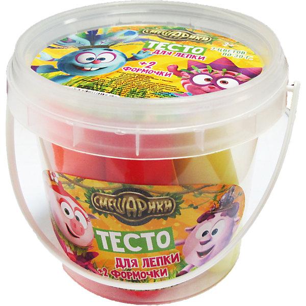 Тесто для лепки СмешарикиТесто для лепки<br>Тесто для лепки Смешарики <br><br>Характеристики:<br><br>• В набор входит: пластиковое ведёрко, 7 упаковок по 30 гр., 2 формы<br>• Размер упаковки: 9*8,5*9 см.<br>• Вес: 235 г.<br>• Состав: тесто (кукурузный крахмал, пищевые красители); формы и ведёрко: пластик<br>• Для детей в возрасте: от 3-х лет<br>• Страна производитель: Китай<br><br>Тесто изготовлено на основе кукурузного крахмала, легко разминается и обладает яркими цветами. В набор входят нужные для лепки семь цветов, которые можно смешать между собой. Занимаясь лепкой дети развивают моторику рук, творческие способности, восприятие цветов и их сочетаний, а также лепка благотворно влияет на развитие речи, координацию движений, память и логическое мышление. Лепка всей семьей поможет весело и с пользой провести время!<br><br>Тесто для лепки Смешарики можно купить в нашем интернет-магазине.<br><br>Ширина мм: 90<br>Глубина мм: 90<br>Высота мм: 85<br>Вес г: 235<br>Возраст от месяцев: 36<br>Возраст до месяцев: 2147483647<br>Пол: Унисекс<br>Возраст: Детский<br>SKU: 5478226