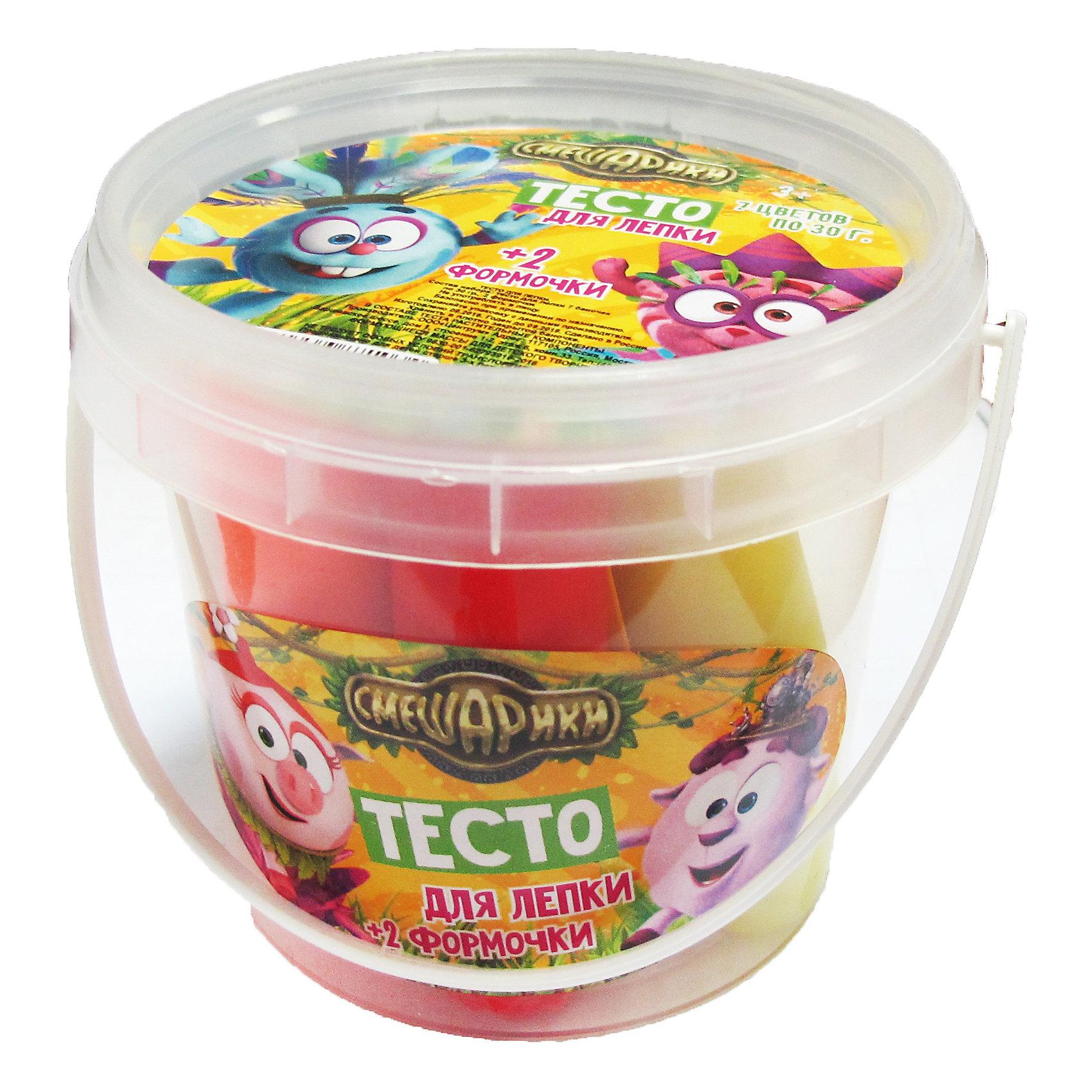 Тесто для лепки СмешарикиЛепка<br>Тесто для лепки Смешарики <br><br>Характеристики:<br><br>• В набор входит: пластиковое ведёрко, 7 упаковок по 30 гр., 2 формы<br>• Размер упаковки: 9*8,5*9 см.<br>• Вес: 235 г.<br>• Состав: тесто (кукурузный крахмал, пищевые красители); формы и ведёрко: пластик<br>• Для детей в возрасте: от 3-х лет<br>• Страна производитель: Китай<br><br>Тесто изготовлено на основе кукурузного крахмала, легко разминается и обладает яркими цветами. В набор входят нужные для лепки семь цветов, которые можно смешать между собой. Занимаясь лепкой дети развивают моторику рук, творческие способности, восприятие цветов и их сочетаний, а также лепка благотворно влияет на развитие речи, координацию движений, память и логическое мышление. Лепка всей семьей поможет весело и с пользой провести время!<br><br>Тесто для лепки Смешарики можно купить в нашем интернет-магазине.<br><br>Ширина мм: 90<br>Глубина мм: 90<br>Высота мм: 85<br>Вес г: 235<br>Возраст от месяцев: 36<br>Возраст до месяцев: 2147483647<br>Пол: Унисекс<br>Возраст: Детский<br>SKU: 5478226