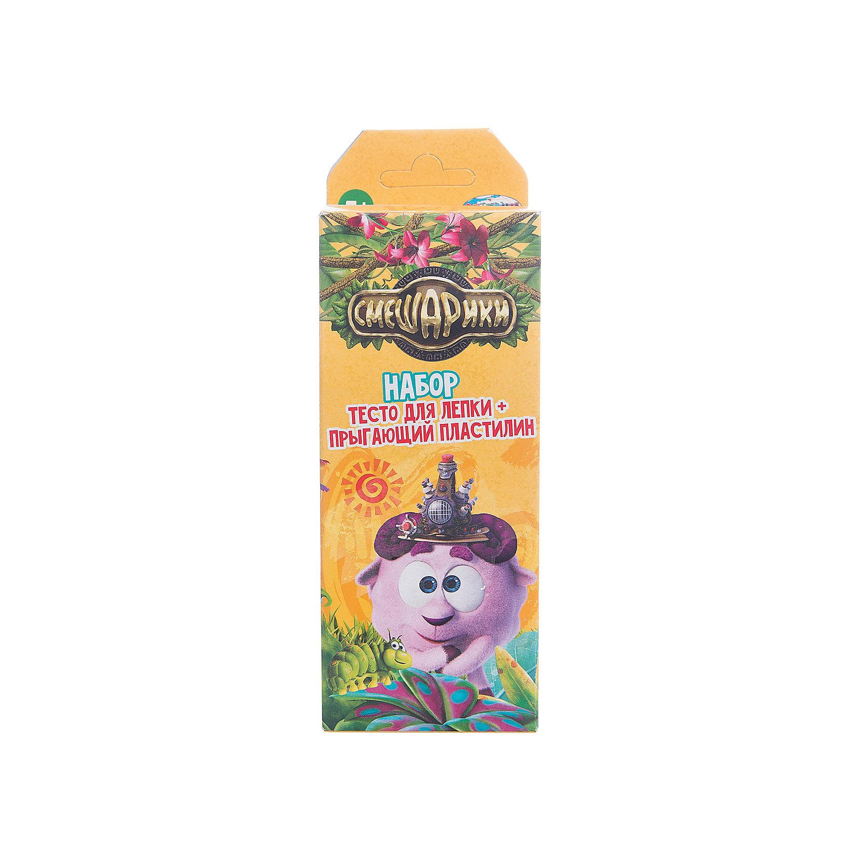 Тесто для лепки СмешарикиЛепка<br>Тесто для лепки Смешарики<br><br>Характеристики:<br><br>• В наборе: 4 баночек по 45 гр., 1 баночка прыгающего пластилина 21 гр. <br>• Размер упаковки: 18 * 5 * 6 см.<br>• Вес: 205 г.<br>• Для детей в возрасте: от 3-х лет<br>• Страна производитель: Китай<br><br>Тесто изготовлено на основе кукурузного крахмала, легко разминается и обладает яркими цветами. В набор входят нужные для лепки четыре цвета (красный, жёлтый, зелёный, синий), которые можно смешать между собой. Весёлый прыгающий пластилин можно формировать в шарики, которые будут отпрыгивать от любых поверхностей, превращая лепку в активную игру. Занимаясь лепкой дети развивают моторику рук, творческие способности, восприятие цветов и их сочетаний, а также лепка благотворно влияет на развитие речи, координацию движений, память и логическое мышление.<br><br>Тесто для лепки Смешарики можно купить в нашем интернет-магазине.<br><br>Ширина мм: 51<br>Глубина мм: 64<br>Высота мм: 182<br>Вес г: 205<br>Возраст от месяцев: 36<br>Возраст до месяцев: 2147483647<br>Пол: Унисекс<br>Возраст: Детский<br>SKU: 5478227