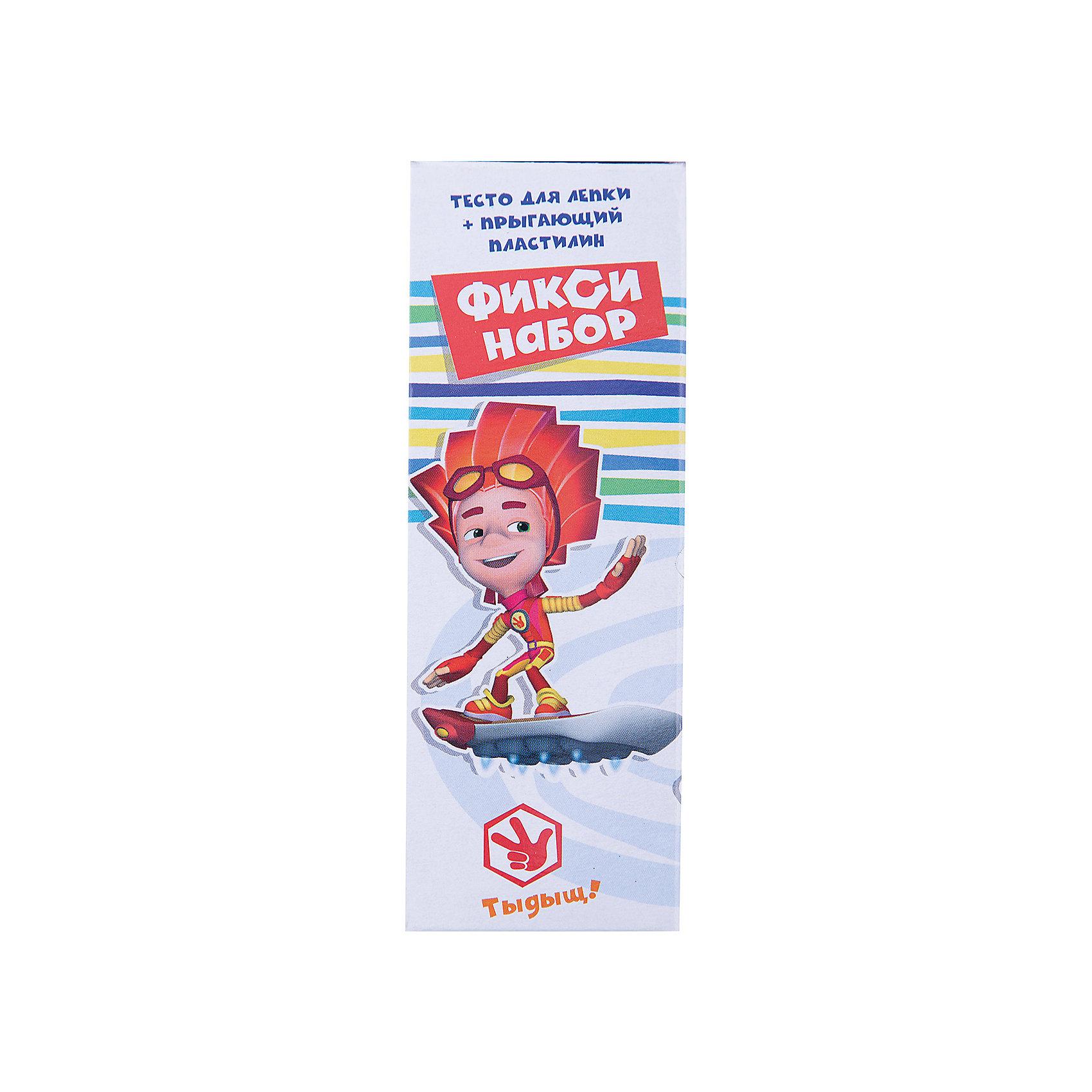 Тесто для лепки ФиксикиПопулярные игрушки<br>Тесто для лепки Фиксики<br> <br>Характеристики:<br><br>• В наборе: 4 баночек по 45 гр., 1 баночка прыгающего пластилина 21 гр. <br>• Размер упаковки: 18 * 5 * 6 см.<br>• Вес: 205 г.<br>• Для детей в возрасте: от 3-х лет<br>• Страна производитель: Китай<br><br>Тесто изготовлено на основе кукурузного крахмала, легко разминается и обладает яркими цветами. В набор входят нужные для лепки четыре цвета (красный, жёлтый, зелёный, синий), которые можно смешать между собой. Весёлый прыгающий пластилин можно формировать в шарики, которые будут отпрыгивать от любых поверхностей, превращая лепку в активную игру. Занимаясь лепкой дети развивают моторику рук, творческие способности, восприятие цветов и их сочетаний, а также лепка благотворно влияет на развитие речи, координацию движений, память и логическое мышление. <br><br>Тесто для лепки Фиксики можно купить в нашем интернет-магазине.<br><br>Ширина мм: 51<br>Глубина мм: 64<br>Высота мм: 182<br>Вес г: 205<br>Возраст от месяцев: 36<br>Возраст до месяцев: 2147483647<br>Пол: Унисекс<br>Возраст: Детский<br>SKU: 5478230