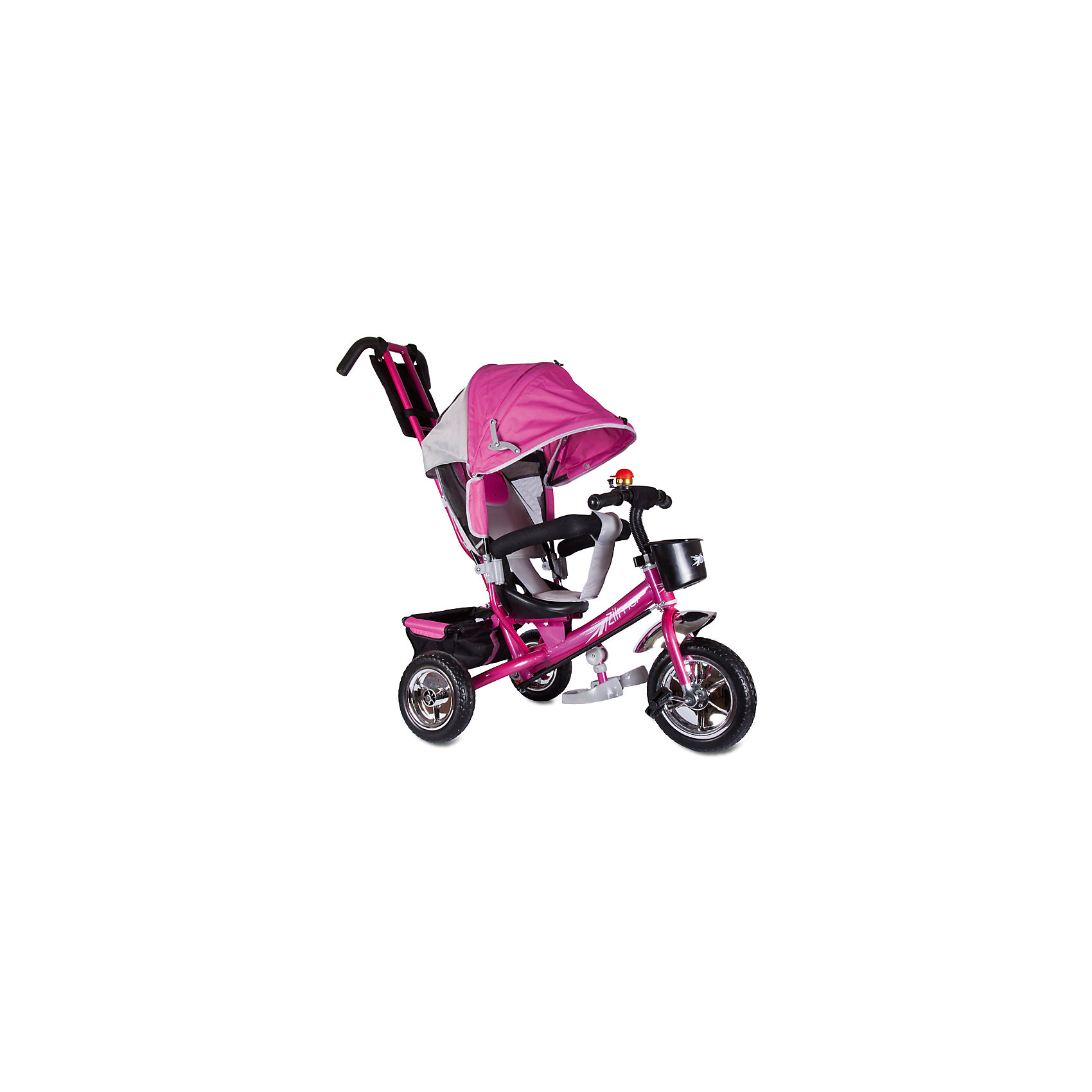 Трехколесный велосипед Бронз Люкс, розовый, ZilmerВелосипеды детские<br>Характеристики товара:<br><br>• материал: металл, полимер, текстиль<br>• цвет: розовый<br>• диаметр колес: переднее - 254 мм, задние - 203.3 мм<br>• блокировка колес<br>• удобный руль <br>• безопасные поручни<br>• управление ручкой для родителей<br>• подставка под ноги<br>• корзинка<br>• материал колес: EVA<br>• надежные материалы<br>• ручной тормоз<br>• козырек<br>• продуманная конструкция<br>• яркий цвет<br>• возраст: от 12 мес<br>• размер: 75x46x25 см<br>• вес: 9 кг<br>• страна производства: Китай<br><br>Подарить родителям и малышу такой велосипед - значит, помочь развитию ребенка. Он способствует скорейшему развитию способности ориентироваться в пространстве, развивает физические способности, мышление и ловкость. Помимо этого, кататься на нём - очень увлекательное занятие!<br><br>Этот велосипед разработан специально для малышей. Он чем-то похож на коляску: есть родительская ручка и специальные подставки под ножки. С помощью ручки родители легко координируют направление движения. Данная модель выполнена в ярком дизайне, отличается продуманной конструкцией и деталями, которые обеспечивают безопасность ребенка. Отличный подарок для активного малыша!<br><br>Трехколесный велосипед Бронз Люкс, розовый, от бренда Zilmer можно купить в нашем интернет-магазине.<br><br>Ширина мм: 580<br>Глубина мм: 280<br>Высота мм: 420<br>Вес г: 10000<br>Возраст от месяцев: 12<br>Возраст до месяцев: 36<br>Пол: Женский<br>Возраст: Детский<br>SKU: 5478509