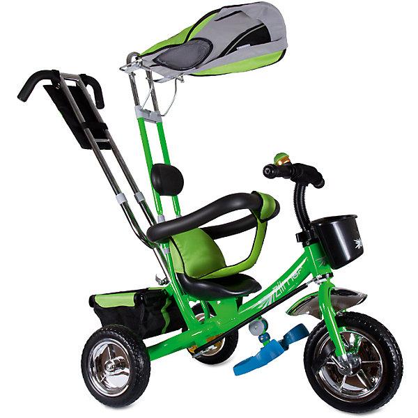 Трехколесный велосипед Бронз Люкс, зеленый, ZilmerВелосипеды детские<br>Характеристики товара:<br><br>• материал: металл, полимер, текстиль<br>• цвет: зеленый<br>• диаметр колес: переднее - 254 мм, задние - 203.3 мм<br>• блокировка колес<br>• удобный руль <br>• безопасные поручни<br>• управление ручкой для родителей<br>• подставка под ноги<br>• корзинка<br>• материал колес: EVA<br>• надежные материалы<br>• ручной тормоз<br>• козырек<br>• продуманная конструкция<br>• яркий цвет<br>• возраст: от 12 мес<br>• размер: 75x46x25 см<br>• вес: 9 кг<br>• страна производства: Китай<br><br>Подарить родителям и малышу такой велосипед - значит, помочь развитию ребенка. Он способствует скорейшему развитию способности ориентироваться в пространстве, развивает физические способности, мышление и ловкость. Помимо этого, кататься на нём - очень увлекательное занятие!<br><br>Этот велосипед разработан специально для малышей. Он чем-то похож на коляску: есть родительская ручка и специальные подставки под ножки. С помощью ручки родители легко координируют направление движения. Данная модель выполнена в ярком дизайне, отличается продуманной конструкцией и деталями, которые обеспечивают безопасность ребенка. Отличный подарок для активного малыша!<br><br>Трехколесный велосипед Бронз Люкс, зеленый, от бренда Zilmer можно купить в нашем интернет-магазине.<br><br>Ширина мм: 590<br>Глубина мм: 280<br>Высота мм: 420<br>Вес г: 9700<br>Возраст от месяцев: 12<br>Возраст до месяцев: 36<br>Пол: Унисекс<br>Возраст: Детский<br>SKU: 5478511
