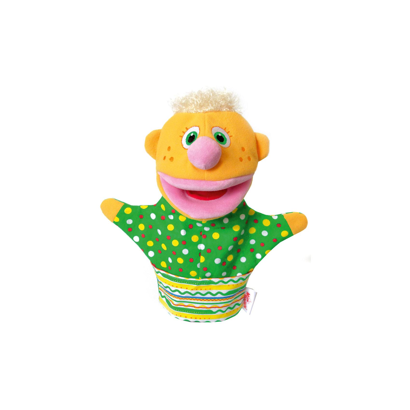 Игрушка-рукавичкаНямлик, МякишиМягкие игрушки<br>Игрушка-рукавичка Нямлик, Мякиши.<br><br>Характеристики:<br><br>• Возраст: с рождения<br>• Высота игрушки: 26 см.<br>• Материал: х/б ткань, холлофайбер, махра, мех, велюр, трикотаж<br><br>Мягкая игрушка на руку Нямлик от компании Мякиши поднимет настроение и вызовет улыбку не только у ребенка, но и у взрослого. Игрушка выполнена в виде яркого веселого человечка из высококачественной разнофактурной ткани и мягкого наполнителя, абсолютно безопасна. Глазки и веснушки на щечках Нямлика вышиты нитками. У игрушки большой открывающийся рот. <br><br>Нямлик может строить забавные рожицы, разговаривать (с вашей помощью, конечно), помогать Вам в кормлении малыша, и станет отличным помощником в деле воспитания и развития ребенка. Такая игрушка способствует укреплению мелкой моторики рук ребенка, развитию его речевых способностей и воображения.<br><br>Игрушку-рукавичку Нямлик, Мякиши можно купить в нашем интернет-магазине.<br><br>Ширина мм: 200<br>Глубина мм: 80<br>Высота мм: 210<br>Вес г: 155<br>Возраст от месяцев: 0<br>Возраст до месяцев: 36<br>Пол: Унисекс<br>Возраст: Детский<br>SKU: 5478525