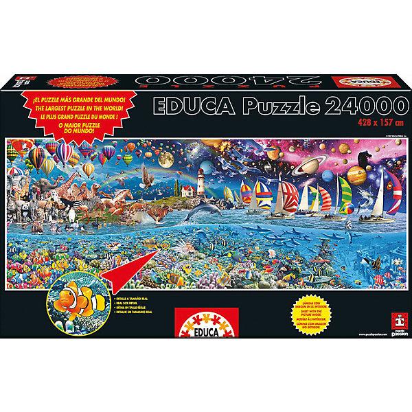Пазл Жизнь, 24000 деталей, EducaПазлы классические<br>Характеристики товара:<br><br>• возраст: от 3 лет;<br>• материал: картон;<br>• в комплекте: 24000 деталей;<br>• размер собранного пазла: 428х157 см;<br>• размер упаковки: 56х35х15 см;<br>• вес упаковки: 11,85 кг;<br>• страна производитель: Испания.<br><br>Пазл «Жизнь» Educa — один из самых больших пазлов в мире. Он разделен на 4 тематические части. На каждой изображены животный и подводный миры, корабли, планеты и звезды. В процессе сборки пазла у детей развивается мелкая моторика рук, усидчивость, внимательность к деталям, логическое мышление.<br><br>Пазл «Жизнь» Educa можно приобрести в нашем интернет-магазине.<br><br>Ширина мм: 570<br>Глубина мм: 340<br>Высота мм: 250<br>Вес г: 11850<br>Возраст от месяцев: 144<br>Возраст до месяцев: 2147483647<br>Пол: Унисекс<br>Возраст: Детский<br>SKU: 5478578
