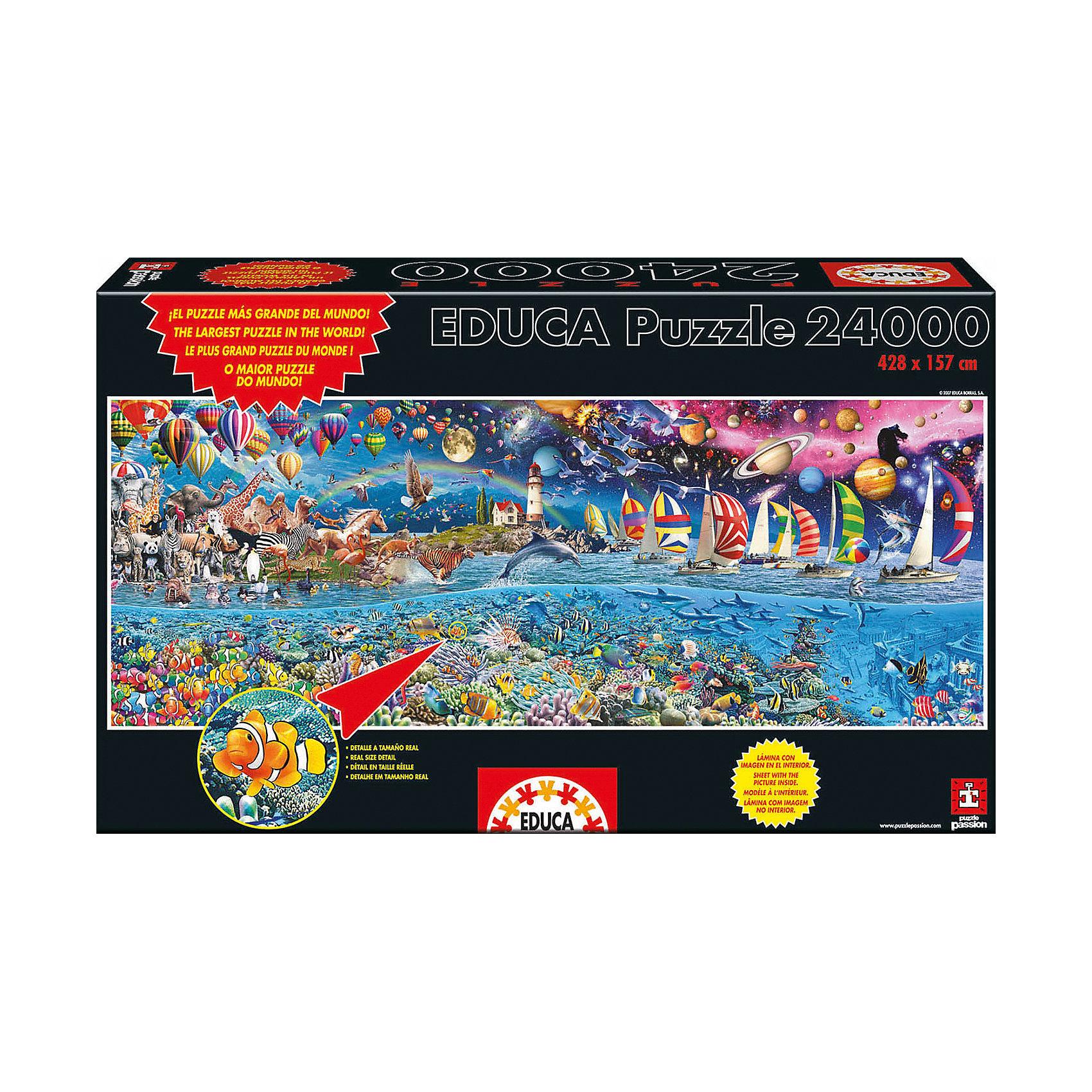 Пазл Жизнь, 24000 деталей, EducaКлассические пазлы<br>Характеристики товара:<br><br>• возраст: от 3 лет;<br>• материал: картон;<br>• в комплекте: 24000 деталей;<br>• размер собранного пазла: 428х157 см;<br>• размер упаковки: 56х35х15 см;<br>• вес упаковки: 11,85 кг;<br>• страна производитель: Испания.<br><br>Пазл «Жизнь» Educa — один из самых больших пазлов в мире. Он разделен на 4 тематические части. На каждой изображены животный и подводный миры, корабли, планеты и звезды. В процессе сборки пазла у детей развивается мелкая моторика рук, усидчивость, внимательность к деталям, логическое мышление.<br><br>Пазл «Жизнь» Educa можно приобрести в нашем интернет-магазине.<br><br>Ширина мм: 570<br>Глубина мм: 340<br>Высота мм: 250<br>Вес г: 11850<br>Возраст от месяцев: 144<br>Возраст до месяцев: 2147483647<br>Пол: Унисекс<br>Возраст: Детский<br>SKU: 5478578