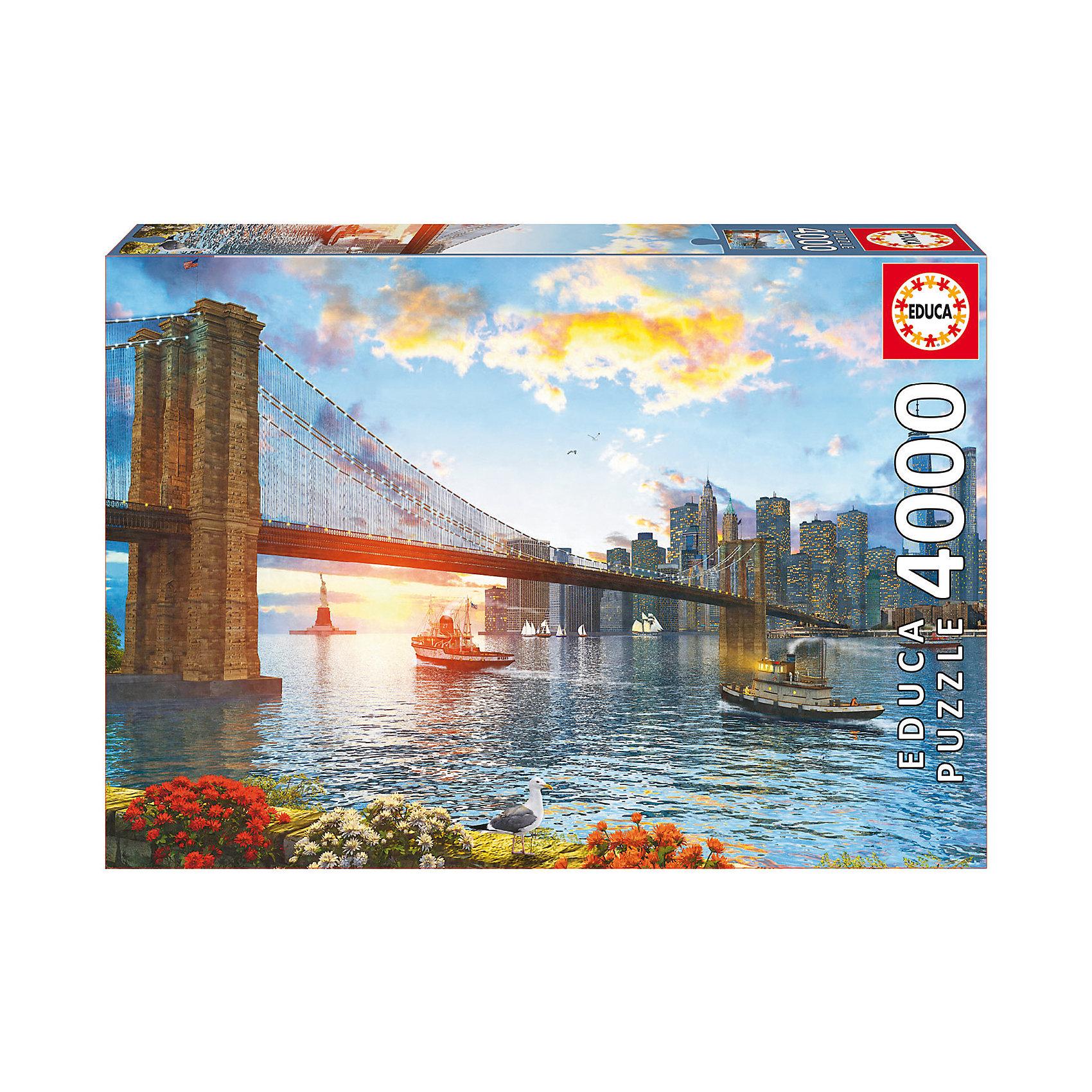 Пазл Бруклинский мост, 4000 деталей, EducaПазлы для детей постарше<br>Характеристики товара:<br><br>• возраст: от 3 лет;<br>• материал: картон;<br>• в комплекте: 4000 деталей;<br>• размер собранного пазла: 136х96 см;<br>• размер упаковки: 47х32х9 см;<br>• вес упаковки: 2,33 кг;<br>• страна производитель: Испания.<br><br>Пазл «Бруклинский мост» Educa позволит увлекательно провести дома время в компании семьи или друзей. На пазле изображен Бруклинский мост в Нью-Йорке. В процессе сборки пазла у детей развивается мелкая моторика рук, усидчивость, внимательность к деталям, логическое мышление.<br><br>Пазл «Бруклинский мост» Educa можно приобрести в нашем интернет-магазине.<br><br>Ширина мм: 459<br>Глубина мм: 320<br>Высота мм: 85<br>Вес г: 2344<br>Возраст от месяцев: 60<br>Возраст до месяцев: 2147483647<br>Пол: Унисекс<br>Возраст: Детский<br>SKU: 5478583