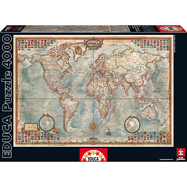 Пазл Политическая Карта Мира, 4000 деталей, EducaПазлы классические<br>Характеристики товара:<br><br>• возраст: от 3 лет;<br>• материал: картон;<br>• в комплекте: 4000 деталей;<br>• размер собранного пазла: 136х96 см;<br>• размер упаковки: 46х32х8,5 см;<br>• вес упаковки: 2,28 кг;<br>• страна производитель: Испания.<br><br>Пазл «Политическая карта мира» Educa позволит увлекательно провести дома время в компании семьи или друзей. На пазле изображена карта мира с городами и странами, которая может служить хорошим пособием и помощником на уроках географии. В процессе сборки пазла у детей развивается мелкая моторика рук, усидчивость, внимательность к деталям, логическое мышление.<br><br>Пазл «Политическая карта мира» Educa можно приобрести в нашем интернет-магазине.<br><br>Ширина мм: 460<br>Глубина мм: 320<br>Высота мм: 80<br>Вес г: 2344<br>Возраст от месяцев: 60<br>Возраст до месяцев: 2147483647<br>Пол: Унисекс<br>Возраст: Детский<br>SKU: 5478584
