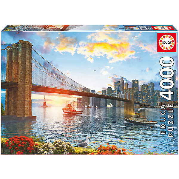 Пазл Бруклинский мост, 4000 деталей, EducaПазлы классические<br>Характеристики товара:<br><br>• возраст: от 3 лет;<br>• материал: картон;<br>• в комплекте: 4000 деталей;<br>• размер собранного пазла: 136х96 см;<br>• размер упаковки: 47х32х9 см;<br>• вес упаковки: 2,33 кг;<br>• страна производитель: Испания.<br><br>Пазл «Бруклинский мост» Educa позволит увлекательно провести дома время в компании семьи или друзей. На пазле изображен Бруклинский мост в Нью-Йорке. В процессе сборки пазла у детей развивается мелкая моторика рук, усидчивость, внимательность к деталям, логическое мышление.<br><br>Пазл «Бруклинский мост» Educa можно приобрести в нашем интернет-магазине.<br><br>Ширина мм: 460<br>Глубина мм: 320<br>Высота мм: 80<br>Вес г: 2382<br>Возраст от месяцев: 60<br>Возраст до месяцев: 2147483647<br>Пол: Унисекс<br>Возраст: Детский<br>SKU: 5478595