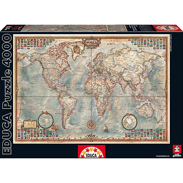 Пазл Политическая Карта Мира, 4000 деталей, EducaПазлы классические<br>Характеристики товара:<br><br>• возраст: от 3 лет;<br>• материал: картон;<br>• в комплекте: 4000 деталей;<br>• размер собранного пазла: 136х96 см;<br>• размер упаковки: 46х32х8,5 см;<br>• вес упаковки: 2,28 кг;<br>• страна производитель: Испания.<br><br>Пазл «Политическая карта мира» Educa позволит увлекательно провести дома время в компании семьи или друзей. На пазле изображена карта мира с городами и странами, которая может служить хорошим пособием и помощником на уроках географии. В процессе сборки пазла у детей развивается мелкая моторика рук, усидчивость, внимательность к деталям, логическое мышление.<br><br>Пазл «Политическая карта мира» Educa можно приобрести в нашем интернет-магазине.<br><br>Ширина мм: 460<br>Глубина мм: 320<br>Высота мм: 80<br>Вес г: 2382<br>Возраст от месяцев: 60<br>Возраст до месяцев: 2147483647<br>Пол: Унисекс<br>Возраст: Детский<br>SKU: 5478596