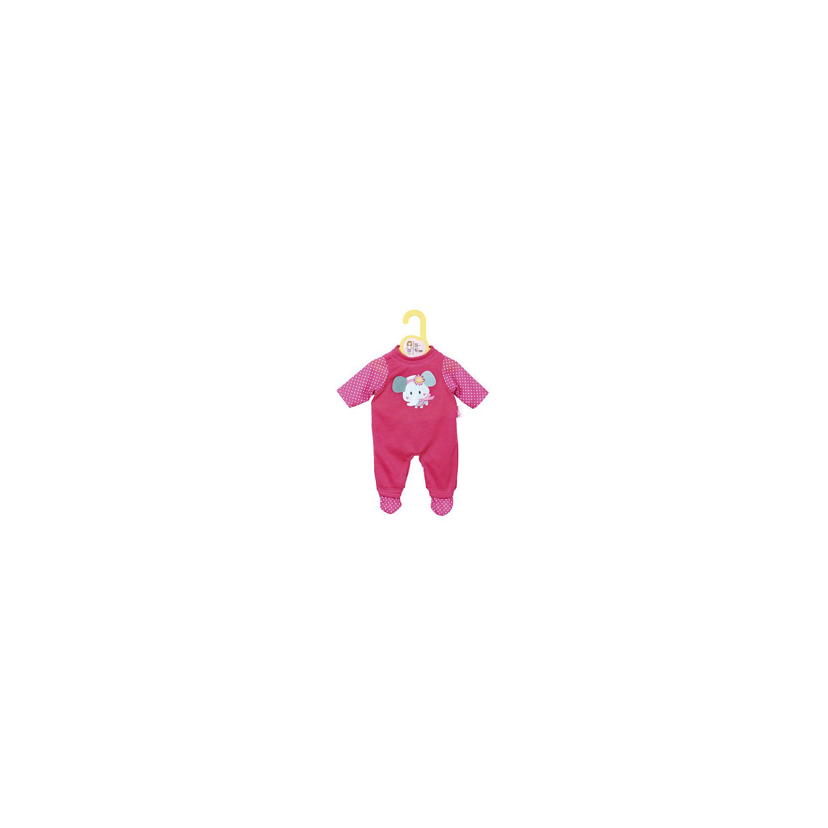 Комбинезончики, в ассортименте, Zapf CreationУютный комбинезончик яркого цвета с прнтом животного. Подходит куклам BABY born 43 см и Baby Annabell 43 см<br><br>Ширина мм: 8<br>Глубина мм: 200<br>Высота мм: 300<br>Вес г: 155<br>Возраст от месяцев: 36<br>Возраст до месяцев: 2147483647<br>Пол: Женский<br>Возраст: Детский<br>SKU: 5478818