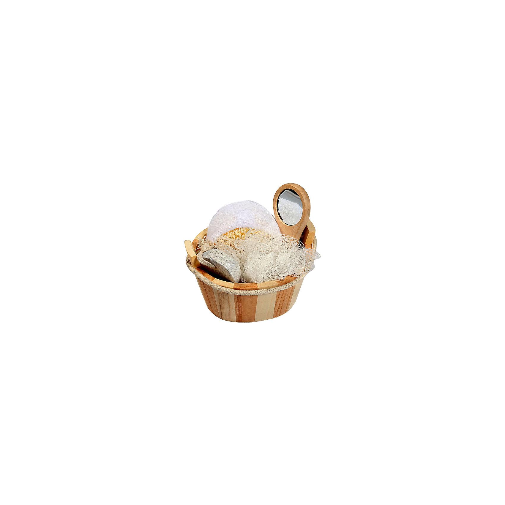 Набор для ванной и бани ЗеркалоПолотенца, мочалки, халаты<br>Характеристики набора для ванной и бани Зеркало:<br><br>• тип: банный комплект<br>• комплектация комплекта: лохань из древесины тополя (12,5х9х8,5 см) мочалка д/купания из сизаля, пемза д/ухода за кожей, мочалка д/купания из полиэтилена, зеркало на ручке из древесины павловнии (12.5*9*8.5 см.)<br>• состав: дерево 100%<br>• цвет: белый, бежевый<br>• сезон: круглогодичный<br>• страна бренда: Россия<br>• страна производитель: Китай<br><br>Набор для ванной и бани Зеркало в лохани из древесины тополя (мочалка для купания из сизаля, пемза для ухода за кожей, мочалка для купания из полиэтилена, зеркало на ручке из древесины павловнии). Набор станет прекрасным дополнением Вашей ванной комнаты.<br><br>Набор для ванной и бани Зеркало можно купить в нашем интернет-магазине.<br><br>Ширина мм: 90<br>Глубина мм: 90<br>Высота мм: 130<br>Вес г: 198<br>Возраст от месяцев: 36<br>Возраст до месяцев: 2147483647<br>Пол: Унисекс<br>Возраст: Детский<br>SKU: 5479412