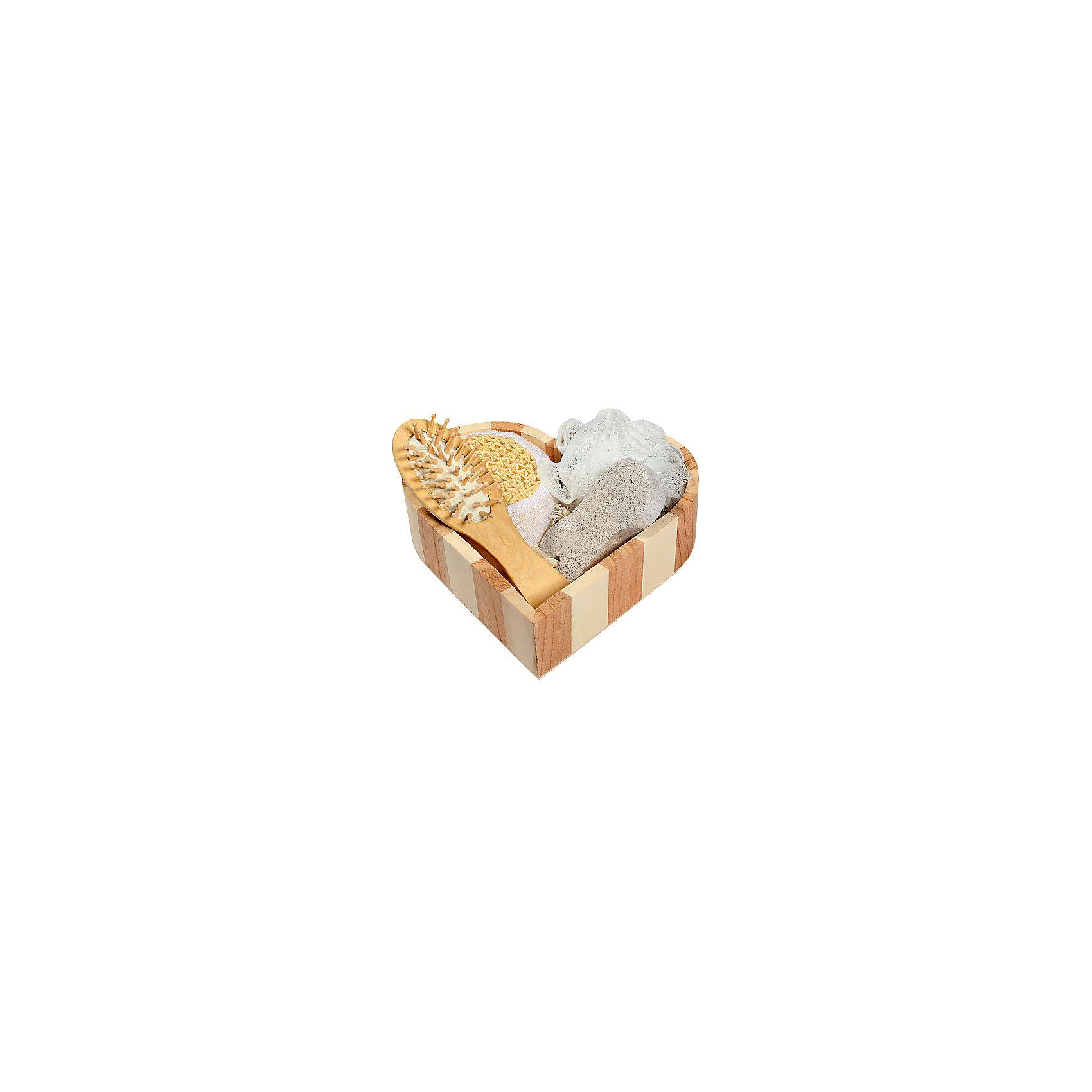Набор для ванной и бани РомантикаНабор для ванной и бани Романтика в декоративной лохани из древесины тополя (мочалка для купания из полиэтилена,  массажная щетка для волос из древесины павловнии, пемза для ухода за кожей, мочалка для купания из сизаля). Набор станет прекрасным дополнением Вашей ванной комнаты.<br><br>Ширина мм: 50<br>Глубина мм: 180<br>Высота мм: 190<br>Вес г: 204<br>Возраст от месяцев: 36<br>Возраст до месяцев: 2147483647<br>Пол: Унисекс<br>Возраст: Детский<br>SKU: 5479413