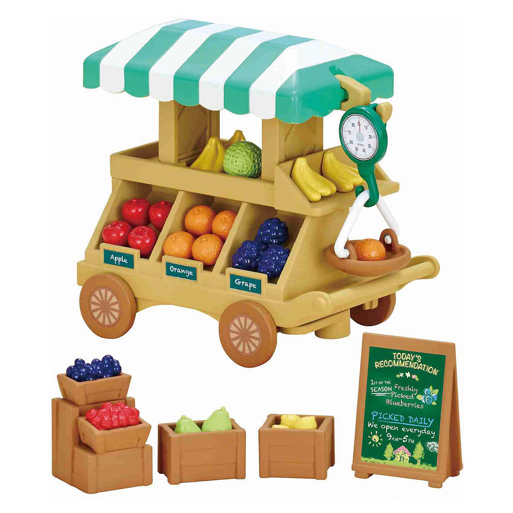 Набор Тележка с фруктами, Sylvanian FamiliesSylvanian Families<br>Набор Тележка с фруктами, Sylvanian Families.<br><br>Характеристики:<br><br>• Для детей от 4<br>• В наборе: тележка, фрукты, ящики для фруктов, весы, прилавок, доска для рекламы<br>• Количество предметов: 30<br>• Материал: пластик<br>• Размер упаковки: 12,3х13х7,5 см.<br><br>Набор Тележка с фруктами, Sylvanian Families привлечет внимание вашей девочки и не позволит ей скучать. Набор включает в себя передвижную тележку с тентом на вращающихся колесах, 9 различных видов фруктов, ящики для фруктов, доску для рекламы, весы, выносной прилавок, на который можно поставить два ящика с фруктам. Ваша малышка будет часами играть с набором, придумывая различные истории. Набор изготовлен из высококачественных гипоаллергенных материалов.<br><br>Sylvanian Families - это целый мир маленьких жителей, объединенных общей легендой. Жители страны Sylvanian Families - это кролики, белки, медведи, лисы и многие другие. У каждого из них есть дом, в котором есть все необходимое для счастливой жизни. <br><br>В городе, где живут герои, есть школа, больница, рынок, пекарня, детский сад и множество других полезных объектов. Жители этой страны живут семьями, в каждой из которой есть дети. В домах Sylvanian Families царит уют и гармония. Здесь продумана каждая мелочь, от одежды до мебели и аксессуаров.<br><br>Набор Тележка с фруктами, Sylvanian Families можно купить в нашем интернет-магазине.<br><br>Ширина мм: 123<br>Глубина мм: 75<br>Высота мм: 130<br>Вес г: 198<br>Возраст от месяцев: 48<br>Возраст до месяцев: 96<br>Пол: Женский<br>Возраст: Детский<br>SKU: 5479450