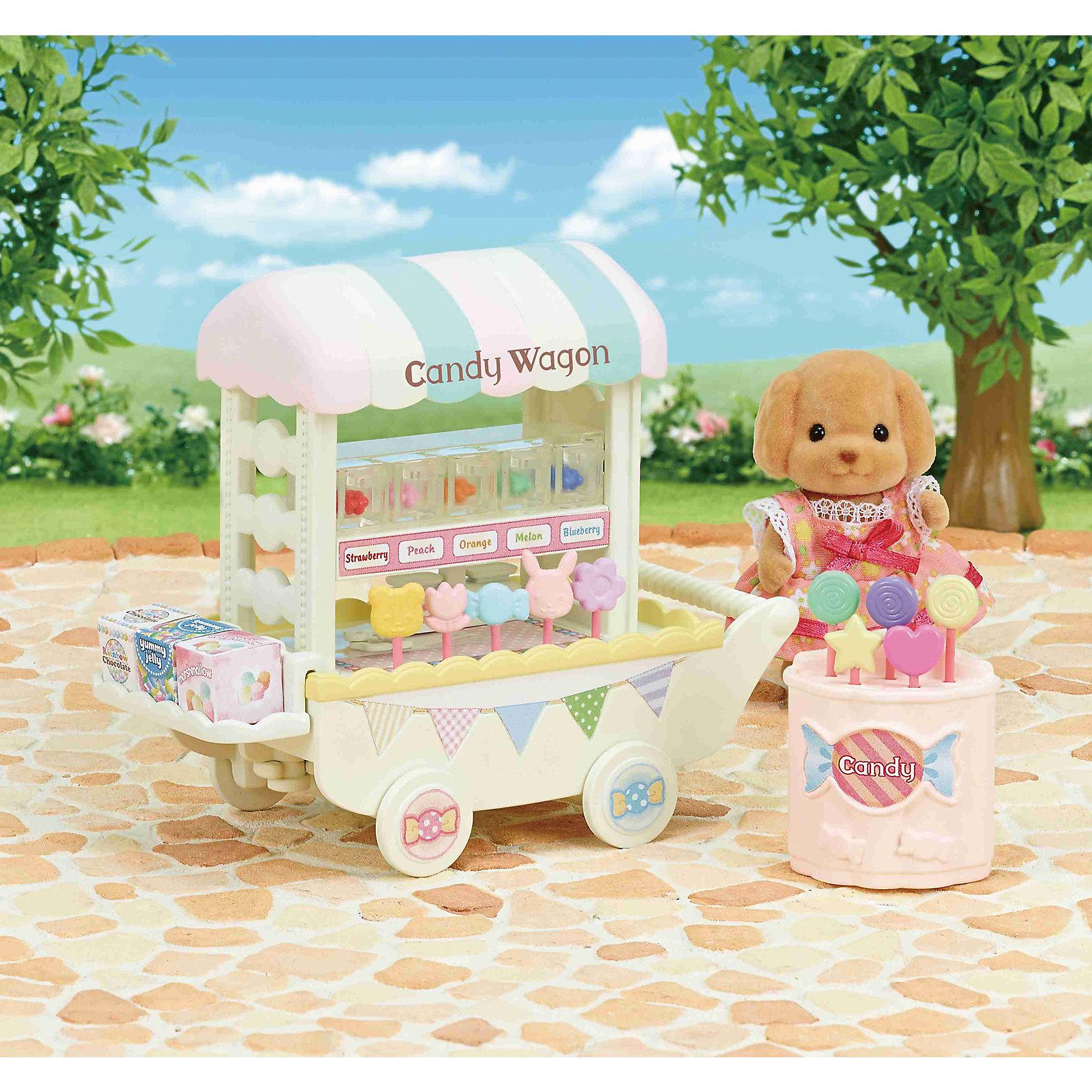 Набор Тележка со сладостями, Sylvanian FamiliesSylvanian Families<br>Набор Тележка со сладостями, Sylvanian Families.<br><br>Характеристики:<br><br>• Для детей от 4<br>• В наборе: тележка, леденцы 10 шт, мармелад 5 шт, весы, витрина, 3 коробки со сладостями (желе, шоколад, зефир), съемная полка, аксессуары<br>• Количество предметов: 25<br>• Материал: пластик<br>• Размер упаковки: 12,3х13х7,5 см.<br><br>Набор Тележка со сладостями, Sylvanian Families привлечет внимание вашей девочки и не позволит ей скучать. Набор включает в себя передвижную тележку с тентом на вращающихся колесах, сладости на любой вкус, которые можно красиво расположить на витрине или съемной полке и множество аксессуаров. Все предметы в наборе выглядят очень реалистично. Ваша малышка будет часами играть с тележкой, придумывая различные истории. Набор изготовлен из высококачественных гипоаллергенных материалов.<br><br>Sylvanian Families - это целый мир маленьких жителей, объединенных общей легендой. Жители страны Sylvanian Families - это кролики, белки, медведи, лисы и многие другие. У каждого из них есть дом, в котором есть все необходимое для счастливой жизни. <br><br>В городе, где живут герои, есть школа, больница, рынок, пекарня, детский сад и множество других полезных объектов. Жители этой страны живут семьями, в каждой из которой есть дети. В домах Sylvanian Families царит уют и гармония. Здесь продумана каждая мелочь, от одежды до мебели и аксессуаров.<br><br>Набор Тележка со сладостями, Sylvanian Families можно купить в нашем интернет-магазине.<br><br>Ширина мм: 123<br>Глубина мм: 75<br>Высота мм: 130<br>Вес г: 179<br>Возраст от месяцев: 48<br>Возраст до месяцев: 96<br>Пол: Женский<br>Возраст: Детский<br>SKU: 5479451