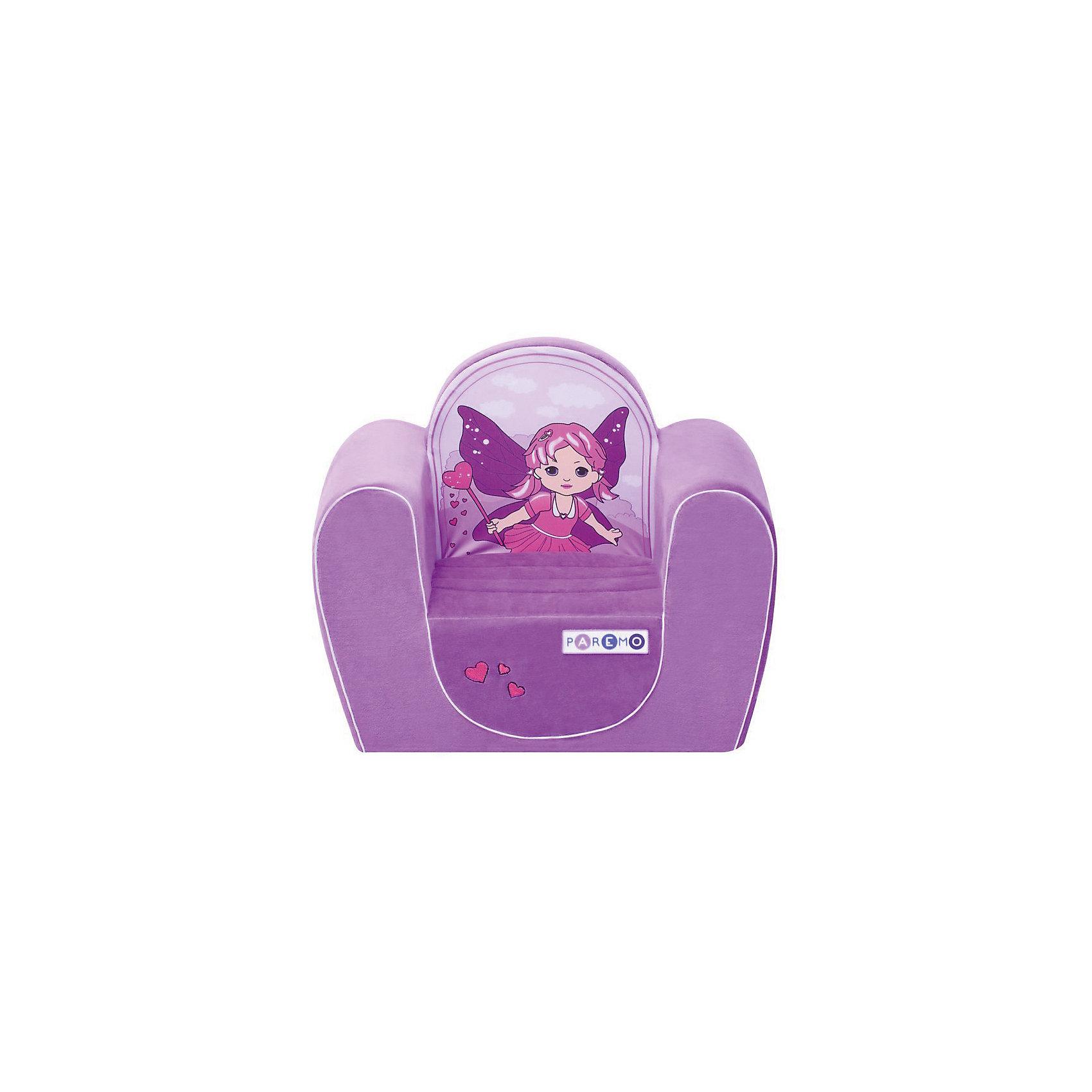 Детское игровое кресло Фея, сиреневый, PAREMOДомики и мебель<br>Детское игровое кресло Фея, сиреневый, PAREMO (ПАРЕМО).<br><br>Характеристики:<br><br>• Размер: 54х45х38 см.<br>• Вес: 3 кг.<br>• Высота от пола до сидения: 18 см.<br>• Размер сидения: 28х26 см.<br>• Материал чехла: велюр, текстиль<br>• Наполнитель: пенополиуретан<br>• Цвет: сиреневый<br>• Упаковка: пакет<br><br>Яркое детское игровое кресло «Фея» с изображением сказочной феи создано для девочек в возрасте от года до четырех лет. Оно имеет бескаркасную, абсолютно безопасную конструкцию. Острые углы отсутствуют. Мягкое и эргономичное сидение принимает нужную форму под весом ребенка, что делает кресло максимально комфортным. Высота от пола до сидения составляет 18 см, поэтому даже самым маленьким будет удобно садиться в кресло. <br><br>Мягкий чехол приятен на ощупь. Он легко снимается и при необходимости стирается в режиме деликатной стирки при температуре до 30 градусов. Кресло идеально впишется в любой уголок детской комнаты. Оно создаст дополнительное место для игр и станет удобным, укромным местечком, где ваша малышка сможет отдохнуть. Сделано в России!<br><br>Детское игровое креслоФея, сиреневое, PAREMO (ПАРЕМО) можно купить в нашем интернет-магазине.<br><br>Ширина мм: 540<br>Глубина мм: 450<br>Высота мм: 380<br>Вес г: 3000<br>Возраст от месяцев: 12<br>Возраст до месяцев: 120<br>Пол: Женский<br>Возраст: Детский<br>SKU: 5482289