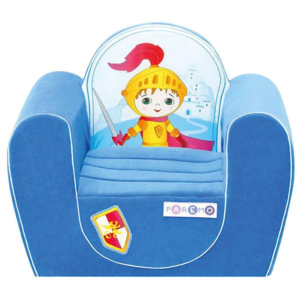 Детское игровое кресло Рыцарь, голубой, PAREMOДомики и мебель<br>Детское игровое кресло Рыцарь, голубой, PAREMO (ПАРЕМО).<br><br>Характеристики:<br><br>• Размер: 54х45х38 см.<br>• Вес: 3 кг.<br>• Высота от пола до сидения: 18 см.<br>• Размер сидения: 28х26 см.<br>• Материал чехла: велюр, текстиль<br>• Наполнитель: пенополиуретан<br>• Цвет: голубой<br>• Упаковка: пакет<br><br>Яркое детское игровое кресло «Рыцарь» с изображением храброго рыцаря создано для мальчиков в возрасте от года до четырех лет. Оно имеет бескаркасную, абсолютно безопасную конструкцию. Острые углы отсутствуют. Мягкое и эргономичное сидение принимает нужную форму под весом ребенка, что делает кресло максимально комфортным. Высота от пола до сидения составляет 18 см, поэтому даже самым маленьким будет удобно садиться в кресло. <br><br>Мягкий чехол приятен на ощупь. Он легко снимается и при необходимости стирается в режиме деликатной стирки при температуре до 30 градусов. Кресло идеально впишется в любой уголок детской комнаты. Оно создаст дополнительное место для игр и станет удобным, укромным местечком, где ваш малыш сможет отдохнуть. Сделано в России!<br><br>Детское игровое кресло Рыцарь, голубое, PAREMO (ПАРЕМО) можно купить в нашем интернет-магазине.<br><br>Ширина мм: 540<br>Глубина мм: 450<br>Высота мм: 380<br>Вес г: 3000<br>Возраст от месяцев: 12<br>Возраст до месяцев: 120<br>Пол: Мужской<br>Возраст: Детский<br>SKU: 5482290