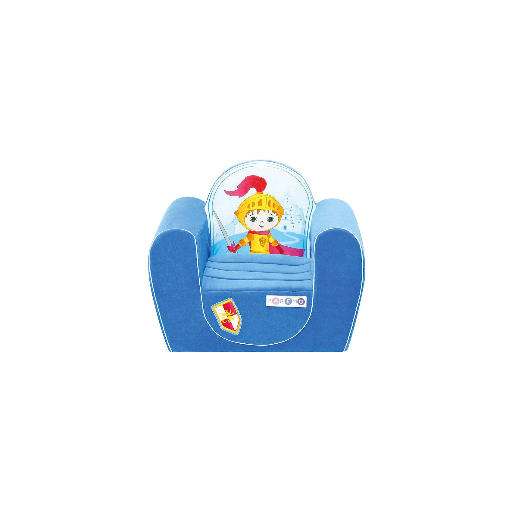 Детское игровое кресло Рыцарь, голубой, PAREMOДетское игровое кресло Рыцарь, голубой, PAREMO (ПАРЕМО).<br><br>Характеристики:<br><br>• Размер: 54х45х38 см.<br>• Вес: 3 кг.<br>• Высота от пола до сидения: 18 см.<br>• Размер сидения: 28х26 см.<br>• Материал чехла: велюр, текстиль<br>• Наполнитель: пенополиуретан<br>• Цвет: голубой<br>• Упаковка: пакет<br><br>Яркое детское игровое кресло «Рыцарь» с изображением храброго рыцаря создано для мальчиков в возрасте от года до четырех лет. Оно имеет бескаркасную, абсолютно безопасную конструкцию. Острые углы отсутствуют. Мягкое и эргономичное сидение принимает нужную форму под весом ребенка, что делает кресло максимально комфортным. Высота от пола до сидения составляет 18 см, поэтому даже самым маленьким будет удобно садиться в кресло. <br><br>Мягкий чехол приятен на ощупь. Он легко снимается и при необходимости стирается в режиме деликатной стирки при температуре до 30 градусов. Кресло идеально впишется в любой уголок детской комнаты. Оно создаст дополнительное место для игр и станет удобным, укромным местечком, где ваш малыш сможет отдохнуть. Сделано в России!<br><br>Детское игровое кресло Рыцарь, голубое, PAREMO (ПАРЕМО) можно купить в нашем интернет-магазине.<br><br>Ширина мм: 540<br>Глубина мм: 450<br>Высота мм: 380<br>Вес г: 3000<br>Возраст от месяцев: 12<br>Возраст до месяцев: 120<br>Пол: Мужской<br>Возраст: Детский<br>SKU: 5482290