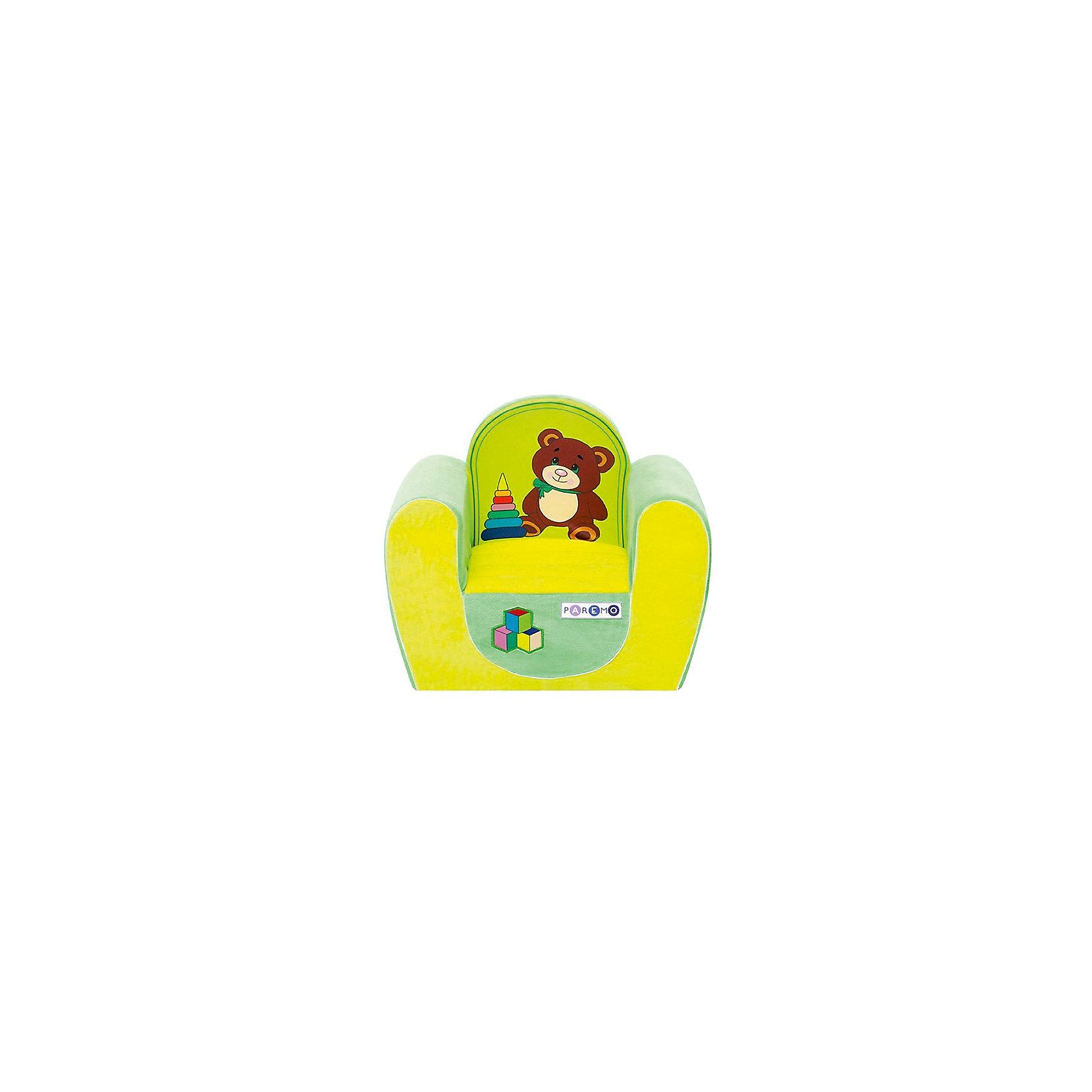 Детское игровое кресло Медвежонок, желтый+салатовый, PAREMOДомики и мебель<br>Детское игровое кресло Медвежонок, желтый+салатовый, PAREMO (ПАРЕМО).<br><br>Характеристики:<br><br>• Размер: 54х45х38 см.<br>• Вес: 3 кг.<br>• Высота от пола до сидения: 18 см.<br>• Размер сидения: 28х26 см.<br>• Материал чехла: велюр, текстиль<br>• Наполнитель: пенополиуретан<br>• Цвет: желтый, салатовый<br>• Упаковка: пакет<br><br>Яркое детское игровое кресло «Медвежонок» с изображением милого медвежонка создано для детей в возрасте от года до четырех лет. Оно имеет бескаркасную, абсолютно безопасную конструкцию. Острые углы отсутствуют. Мягкое и эргономичное сидение принимает нужную форму под весом ребенка, что делает кресло максимально комфортным. Высота от пола до сидения составляет 18 см, поэтому даже самым маленьким будет удобно садиться в кресло. <br><br>Мягкий чехол приятен на ощупь. Он легко снимается и при необходимости стирается в режиме деликатной стирки при температуре до 30 градусов. Кресло идеально впишется в любой уголок детской комнаты. Оно создаст дополнительное место для игр и станет удобным, укромным местечком, где ваш малыш сможет отдохнуть. Сделано в России!<br><br>Детское игровое кресло Медвежонок, желтое+салатовое, PAREMO (ПАРЕМО) можно купить в нашем интернет-магазине.<br><br>Ширина мм: 540<br>Глубина мм: 450<br>Высота мм: 380<br>Вес г: 3000<br>Возраст от месяцев: 12<br>Возраст до месяцев: 120<br>Пол: Женский<br>Возраст: Детский<br>SKU: 5482291