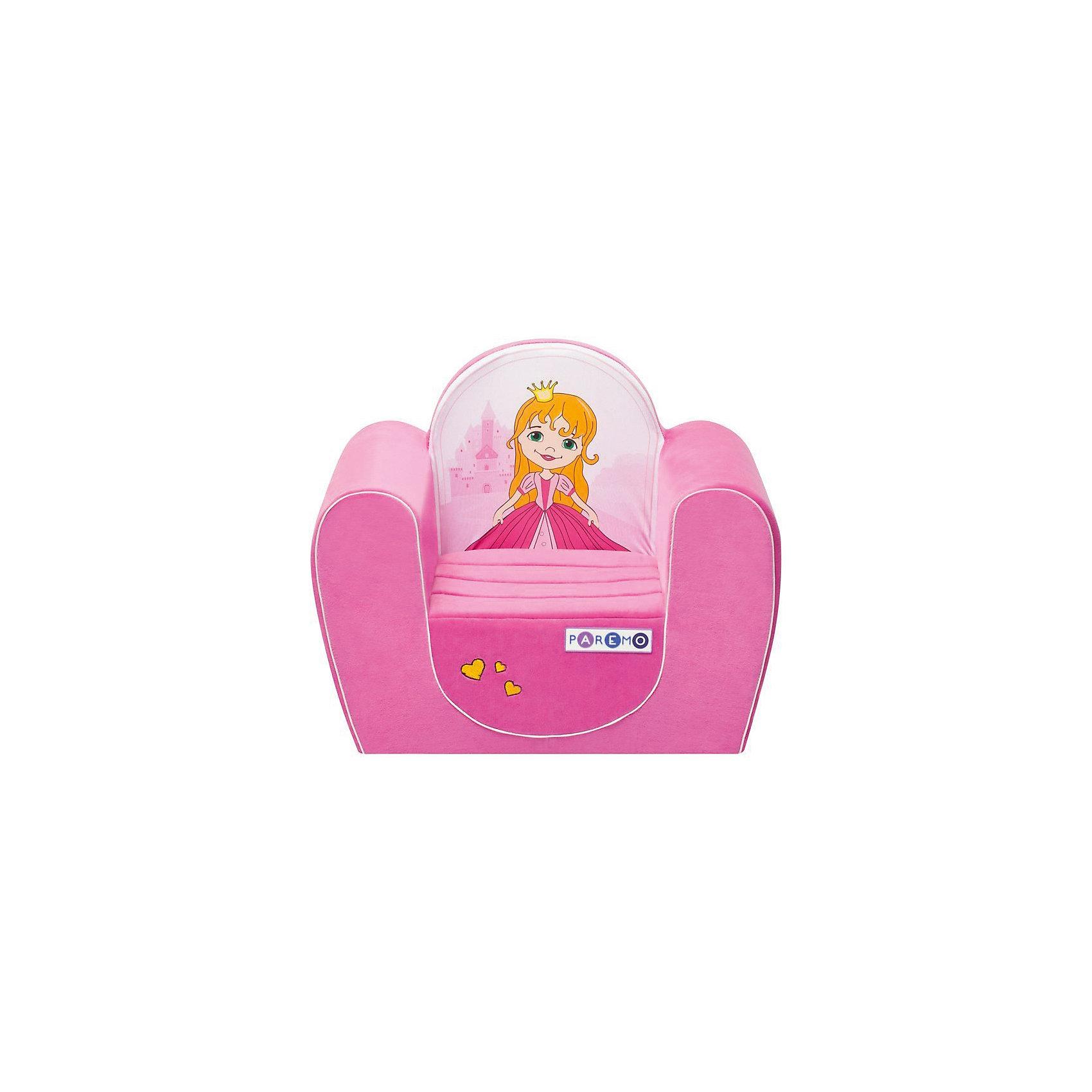 Детское игровое кресло Принцесса, розовый, PAREMOДомики и мебель<br>Детское игровое кресло Принцесса, розовый, PAREMO (ПАРЕМО).<br><br>Характеристики:<br><br>• Размер: 54х45х38 см.<br>• Вес: 3 кг.<br>• Высота от пола до сидения: 18 см.<br>• Размер сидения: 28х26 см.<br>• Материал чехла: велюр, текстиль<br>• Наполнитель: пенополиуретан<br>• Цвет: розовый<br>• Упаковка: пакет<br><br>Яркое детское игровое кресло «Принцесса» с изображением милой принцессы создано для девочек в возрасте от года до четырех лет. Оно имеет бескаркасную, абсолютно безопасную конструкцию. Острые углы отсутствуют. Мягкое и эргономичное сидение принимает нужную форму под весом ребенка, что делает кресло максимально комфортным. Высота от пола до сидения составляет 18 см, поэтому даже самым маленьким будет удобно садиться в кресло. <br><br>Мягкий чехол приятен на ощупь. Он легко снимается и при необходимости стирается в режиме деликатной стирки при температуре до 30 градусов. Кресло идеально впишется в любой уголок детской комнаты. Оно создаст дополнительное место для игр и станет удобным, укромным местечком, где ваша малышка сможет отдохнуть. Сделано в России!<br><br>Детское игровое кресло Принцесса, розовое, PAREMO (ПАРЕМО) можно купить в нашем интернет-магазине.<br><br>Ширина мм: 540<br>Глубина мм: 450<br>Высота мм: 380<br>Вес г: 3000<br>Возраст от месяцев: 12<br>Возраст до месяцев: 120<br>Пол: Женский<br>Возраст: Детский<br>SKU: 5482292