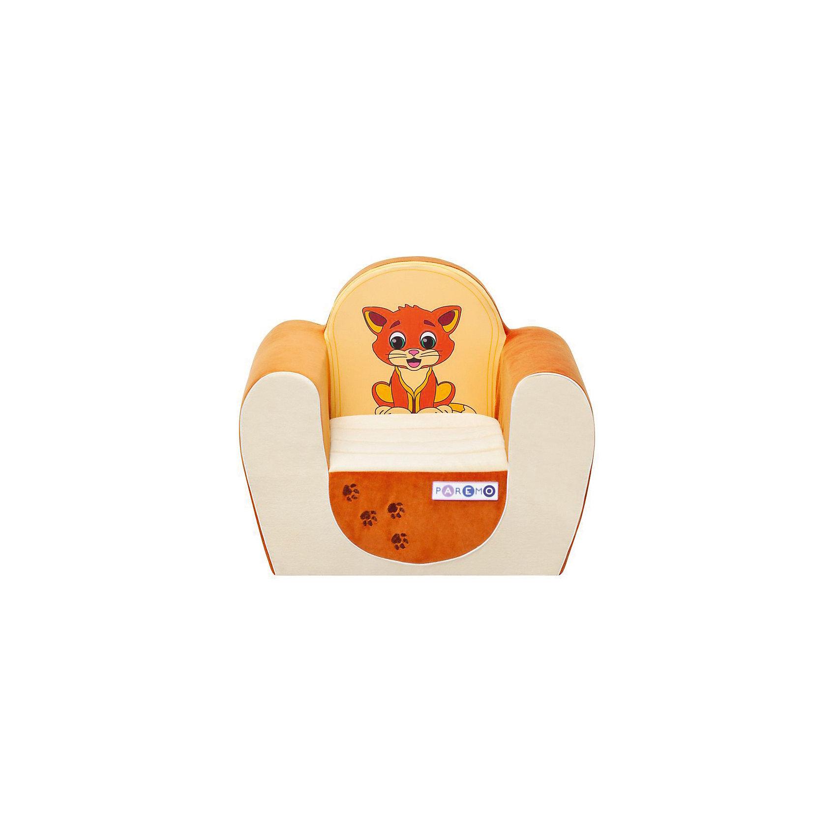 Детское игровое кресло Котенок, бежевый-оранжевый, PAREMOДомики и мебель<br>Детское игровое кресло Котенок, бежевый-оранжевый, PAREMO (ПАРЕМО).<br><br>Характеристики:<br><br>• Размер: 54х45х38 см.<br>• Вес: 3 кг.<br>• Высота от пола до сидения: 18 см.<br>• Размер сидения: 28х26 см.<br>• Материал чехла: велюр, текстиль<br>• Наполнитель: пенополиуретан<br>• Цвет: бежевый, оранжевый<br>• Упаковка: пакет<br><br>Яркое детское игровое кресло «Котенок» с изображением очаровательного котенка создано для детей в возрасте от года до четырех лет. Оно имеет бескаркасную, абсолютно безопасную конструкцию. Острые углы отсутствуют. Мягкое и эргономичное сидение принимает нужную форму под весом ребенка, что делает кресло максимально комфортным. Высота от пола до сидения составляет 18 см, поэтому даже самым маленьким будет удобно садиться в кресло. <br><br>Мягкий чехол приятен на ощупь. Он легко снимается и при необходимости стирается в режиме деликатной стирки при температуре до 30 градусов. Кресло идеально впишется в любой уголок детской комнаты. Оно создаст дополнительное место для игр и станет удобным, укромным местечком, где ваш малыш сможет отдохнуть. Сделано в России!<br><br>Детское игровое кресло Котенок, бежевое-оранжевое, PAREMO (ПАРЕМО) можно купить в нашем интернет-магазине.<br><br>Ширина мм: 540<br>Глубина мм: 450<br>Высота мм: 380<br>Вес г: 3000<br>Возраст от месяцев: 12<br>Возраст до месяцев: 120<br>Пол: Женский<br>Возраст: Детский<br>SKU: 5482293