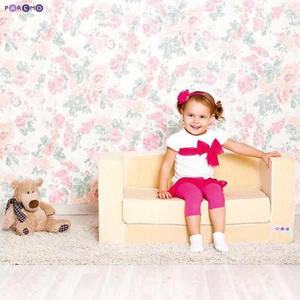 Раскладной игровой диванчик, бежевый, PAREMOДомики и мебель<br>Раскладной игровой диванчик, бежевый, PAREMO (ПАРЕМО).<br><br>Характеристики:<br><br>• Для детей в возрасте от 1 года до 5 лет<br>• Размер: 86х38х47 см.<br>• Вес: 7 кг.<br>• Высота от пола до сидения: 21 см.<br>• Размер сидения: 65х36/68 см.<br>• Материал чехла: велюр<br>• Наполнитель: пенополиуретан<br>• Цвет: бежевый<br>• Упаковка: пакет<br>• ВНИМАНИЕ! Диван не предусмотрен для сна и относится к категории игровой мебели!<br><br>Раскладной игровой диванчик — яркое, стильное и практичное решение для детской комнаты. Он создаст дополнительное место для игр и станет удобным местечком, где ваш ребенок сможет отдохнуть. Диван имеет бескаркасную, абсолютно безопасную конструкцию. Острые углы отсутствуют. Мягкое эргономичное сидение принимает нужную форму под весом ребенка, что делает диван максимально комфортным. <br><br>Высота от пола до сидения составляет 21 см, поэтому даже самым маленьким будет удобно садиться. Диван легко складывается и раскладывается. Мягкий чехол, выполненный из велюра, приятен на ощупь. Он легко снимается и при необходимости стирается в режиме деликатной стирки при температуре до 30 градусов. Сделано в России!<br><br>Раскладной игровой диванчик, бежевый, PAREMO (ПАРЕМО) можно купить в нашем интернет-магазине.<br><br>Ширина мм: 860<br>Глубина мм: 470<br>Высота мм: 380<br>Вес г: 7000<br>Возраст от месяцев: 12<br>Возраст до месяцев: 120<br>Пол: Унисекс<br>Возраст: Детский<br>SKU: 5482294