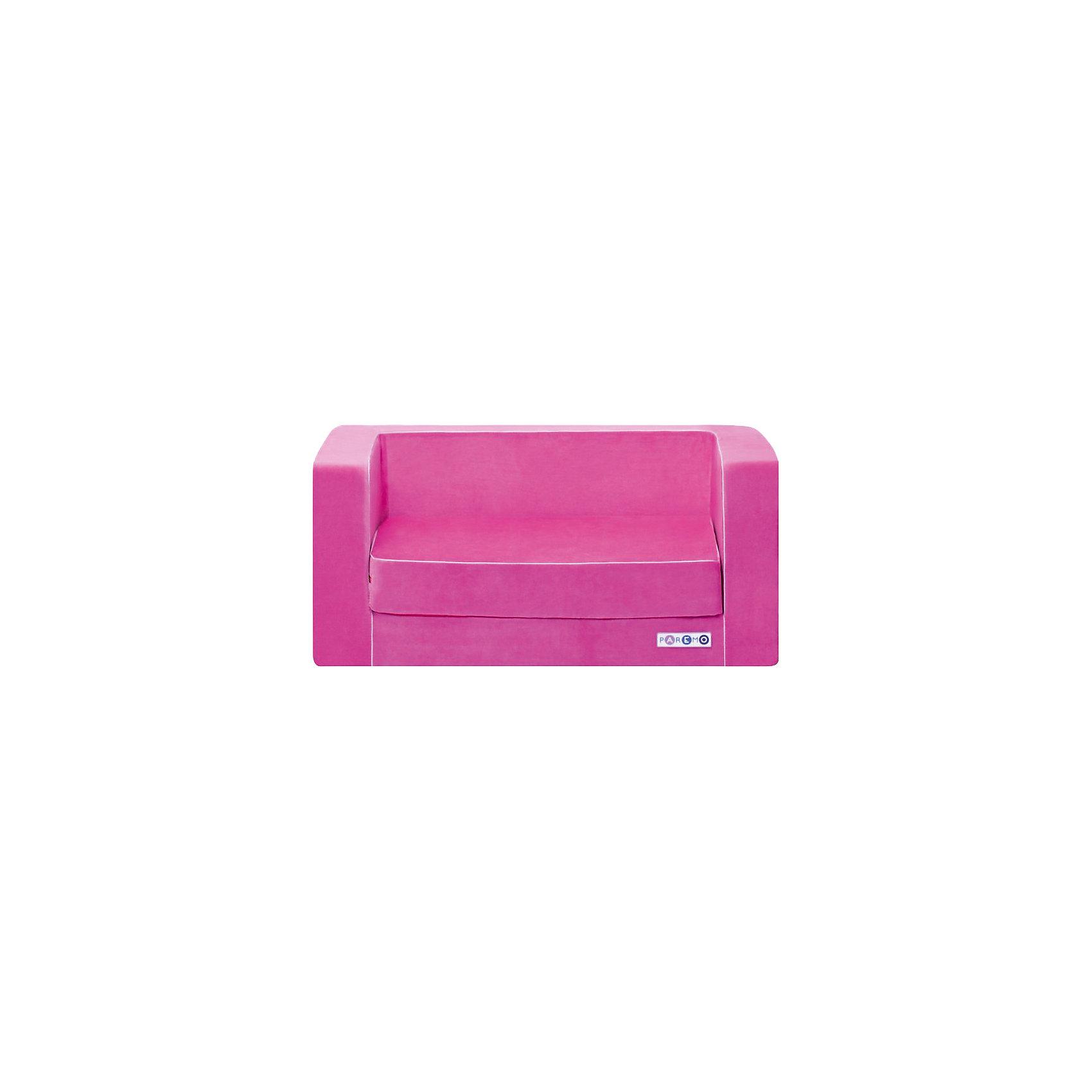 Раскладной игровой диванчик, розовый, PAREMOДомики и мебель<br>Раскладной игровой диванчик, розовый, PAREMO (ПАРЕМО).<br><br>Характеристики:<br><br>• Для девочек в возрасте от 1 года до 5 лет<br>• Размер: 86х38х47 см.<br>• Вес: 7 кг.<br>• Высота от пола до сидения: 21 см.<br>• Размер сидения: 65х36/68 см.<br>• Материал чехла: велюр<br>• Наполнитель: пенополиуретан<br>• Цвет: розовый<br>• Упаковка: пакет<br>• ВНИМАНИЕ! Диван не предусмотрен для сна и относится к категории игровой мебели!<br><br>Раскладной игровой диванчик — яркое, стильное и практичное решение для детской комнаты. Он создаст дополнительное место для игр и станет удобным местечком, где ваша девочка сможет отдохнуть. Диван имеет бескаркасную, абсолютно безопасную конструкцию. Острые углы отсутствуют. <br><br>Мягкое эргономичное сидение принимает нужную форму под весом ребенка, что делает диван максимально комфортным. Высота от пола до сидения составляет 21 см, поэтому даже самым маленьким будет удобно садиться. Диван легко складывается и раскладывается. Мягкий чехол, выполненный из велюра, приятен на ощупь. Он легко снимается и при необходимости стирается в режиме деликатной стирки при температуре до 30 градусов. Сделано в России!<br><br>Раскладной игровой диванчик, розовый, PAREMO (ПАРЕМО) можно купить в нашем интернет-магазине.<br><br>Ширина мм: 860<br>Глубина мм: 470<br>Высота мм: 380<br>Вес г: 7000<br>Возраст от месяцев: 12<br>Возраст до месяцев: 120<br>Пол: Женский<br>Возраст: Детский<br>SKU: 5482295