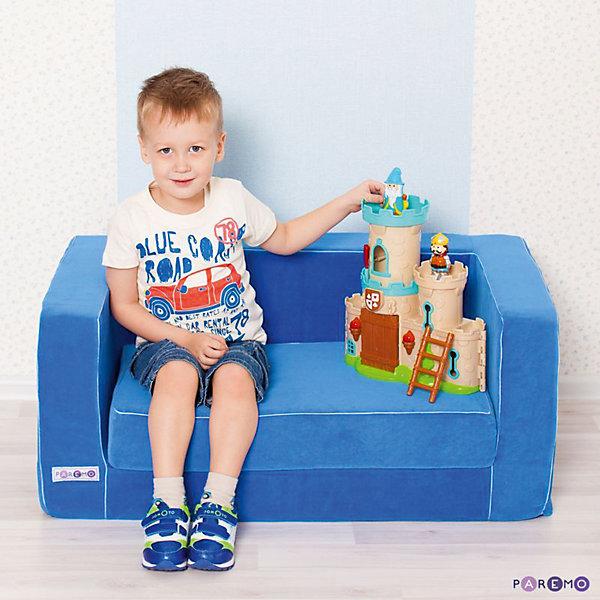 Раскладной игровой диванчик, голубой, PAREMOДомики и мебель<br>Раскладной игровой диванчик, голубой, PAREMO (ПАРЕМО).<br><br>Характеристики:<br><br>• Для мальчиков в возрасте от 1 года до 5 лет<br>• Размер: 86х38х47 см.<br>• Вес: 7 кг.<br>• Высота от пола до сидения: 21 см.<br>• Размер сидения: 65х36/68 см.<br>• Материал чехла: велюр<br>• Наполнитель: пенополиуретан<br>• Цвет: голубой<br>• Упаковка: пакет<br>• ВНИМАНИЕ! Диван не предусмотрен для сна и относится к категории игровой мебели!<br><br>Раскладной игровой диванчик — яркое, стильное и практичное решение для детской комнаты. Он создаст дополнительное место для игр и станет удобным местечком, где ваш мальчик сможет отдохнуть. Диван имеет бескаркасную, абсолютно безопасную конструкцию. Острые углы отсутствуют. <br><br>Мягкое эргономичное сидение принимает нужную форму под весом ребенка, что делает диван максимально комфортным. Высота от пола до сидения составляет 21 см, поэтому даже самым маленьким будет удобно садиться. Диван легко складывается и раскладывается. Мягкий чехол, выполненный из велюра, приятен на ощупь. Он легко снимается и при необходимости стирается в режиме деликатной стирки при температуре до 30 градусов. Сделано в России!<br><br>Раскладной игровой диванчик, голубой, PAREMO (ПАРЕМО) можно купить в нашем интернет-магазине.<br><br>Ширина мм: 860<br>Глубина мм: 470<br>Высота мм: 380<br>Вес г: 7000<br>Возраст от месяцев: 12<br>Возраст до месяцев: 120<br>Пол: Мужской<br>Возраст: Детский<br>SKU: 5482296