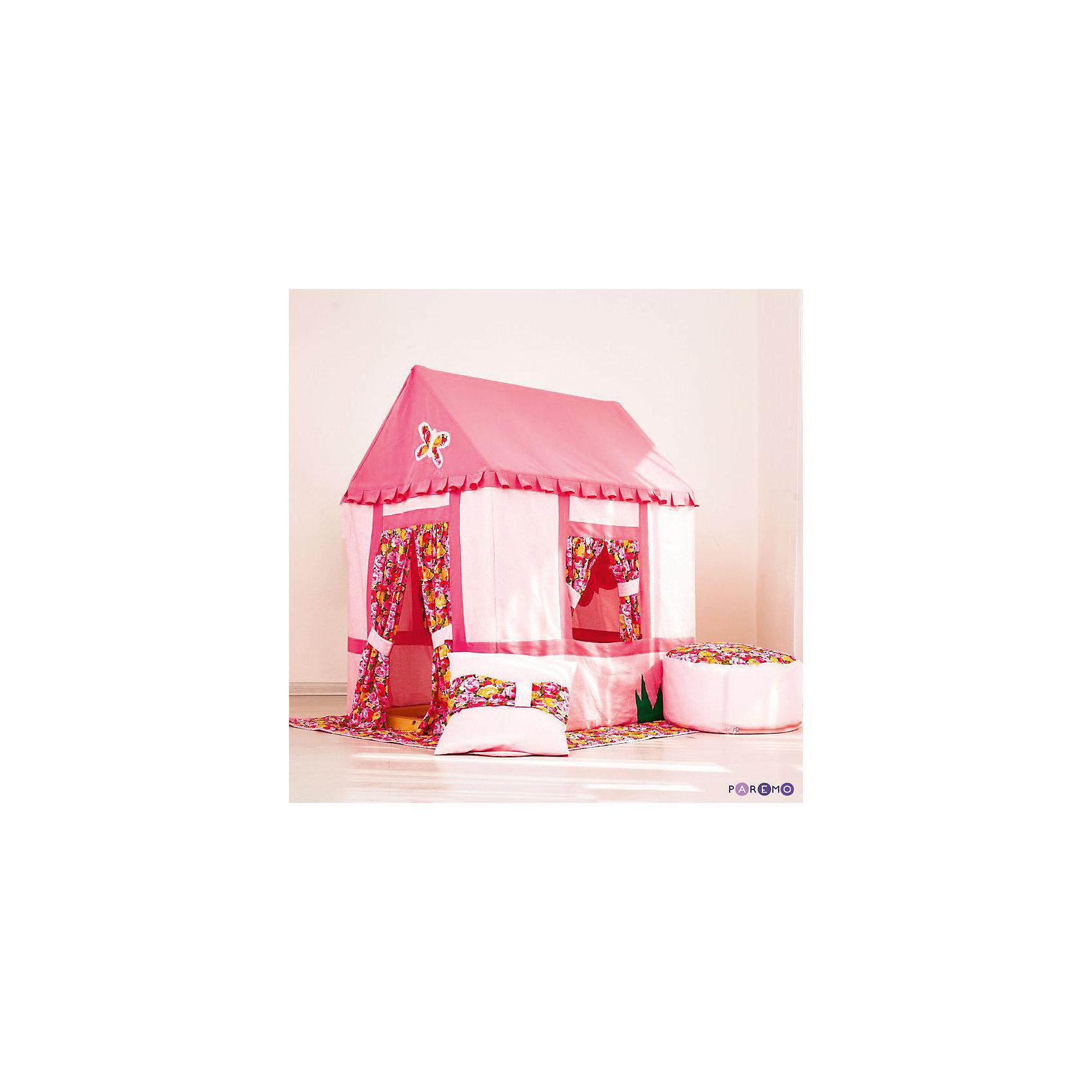 Текстильный домик-палатка с пуфиком  Дворец Мирабель, PAREMOИгровые центры<br>Текстильный домик-палатка с пуфиком Дворец Мирабель, PAREMO (ПАРЕМО).<br><br>Характеристики:<br><br>• Комплектация: деревянный каркас, чехол в форме домика, одеяло в основании, подушка, детский пуфик<br>• Материалы: сосна (каркас), текстиль (чехлы, одеяло), синтепон (набивка)<br>• Все текстильные элементы съемные для удобства стирки<br>• Размер домика-палатки: 75x100x120 см.<br>• Вес: 10 кг.<br>• Упаковка: транспортная картонная коробка<br>• ВНИМАНИЕ! Оттенок текстиля зависит от партии поставки и может незначительно отличаться в оттенке или орнаменте, сохраняя суть первично заявленной цветовой комбинации. Возможная цветовая коррекция не меняют потребительских свойств продукции<br><br>Яркий домик-палатка с пуфиком Дворец Мирабель, украшенный бабочками и цветочным принтом, разработан для юных принцесс старше 3 лет. Каркас домика изготовлен из натуральной древесины твердых сортов, и имеет габариты, ориентированные на стандартный дверной проем, что позволит перемещать домик внутри квартиры или выносить его на улицу, не разбирая. Хлопковый чехол фиксируется завязками в основании домика. В домике большой дверной проем и 2 окошка. <br><br>Дверь и окна декорированы яркими шторками с цветочным орнаментом. Набор также включает яркую подушку, мягкий пуфик и одеяло, которое используется в домике в качестве пола. Текстильный домик-палатка с пуфиком Дворец Мирабель позволит создать безопасную игровую площадку и место для комфортного отдыха вашей малышки. Качественное исполнение и внушительная комплектация набора, несомненно, порадует родителей. Сделано в России!<br><br>Текстильный домик-палатку с пуфиком Дворец Мирабель, PAREMO (ПАРЕМО) можно купить в нашем интернет-магазине.<br><br>Ширина мм: 1200<br>Глубина мм: 1000<br>Высота мм: 750<br>Вес г: 10500<br>Возраст от месяцев: 36<br>Возраст до месяцев: 120<br>Пол: Женский<br>Возраст: Детский<br>SKU: 5482297