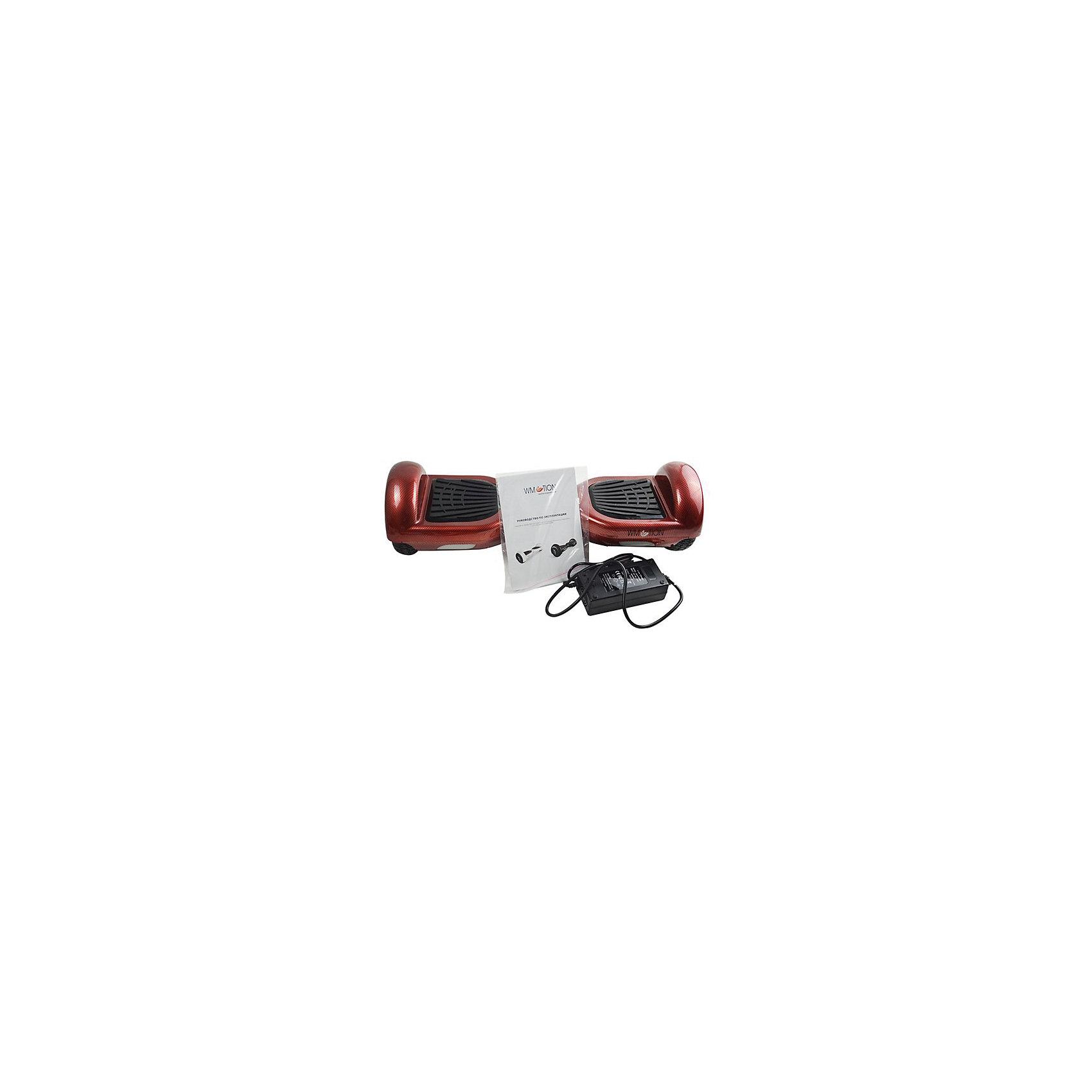Гироскутер, красный карбон, WMOTIONГироскутеры<br>Характеристики товара:<br><br>• материал: пластик, металл<br>• размер: 16х58х17 см<br>• комплектация: гироскутер, зарядка, сумка, инструкция по эксплуатации, гарантийный талон, коробка<br>• цвет: красный карбон<br>• диаметр колёс: 6,5 дюймов<br>• максимальная нагрузка: 100 кг<br>• максимальная скорость – 10 км/ч <br>• максимальное расстояние, которое можно проехать на одном заряде: 20 км <br>• мощность электродвигателя: 0.35 кВт<br>• ёмкость аккумулятора: 4 400 мАч<br>• время, необходимое для полной зарядки аккумулятора: 90 мин<br>• стильный дизайн<br>• вес: 10 кг<br>• страна производитель: Китай<br>• страна бренда: Китай<br><br>Один из самых модных на настоящий моментов вид передвижения - это гироскутер. Он эффектно выглядит, позволяет ехать со скоростью выше, чем у пешеходов, но при этом достаточно безопасной для владельца. Управлять таким средством передвижения достаточно просто: нужно всего лишь переносить вес тела в определенное направление.<br><br>Такой гироскутер достаточно быстро заряжается, он не много весит. Модель уже пользуется популярностью в западных странах. Она действительно стильно выглядит, особенно в темноте с подсветкой, и позволяет выполнять эффектные трюки!<br><br>Гироскутер, красный карбон, от популярного бренда WMOTION можно купить в нашем интернет-магазине.<br><br>Ширина мм: 170<br>Глубина мм: 170<br>Высота мм: 580<br>Вес г: 10000<br>Возраст от месяцев: 60<br>Возраст до месяцев: 192<br>Пол: Унисекс<br>Возраст: Детский<br>SKU: 5482378