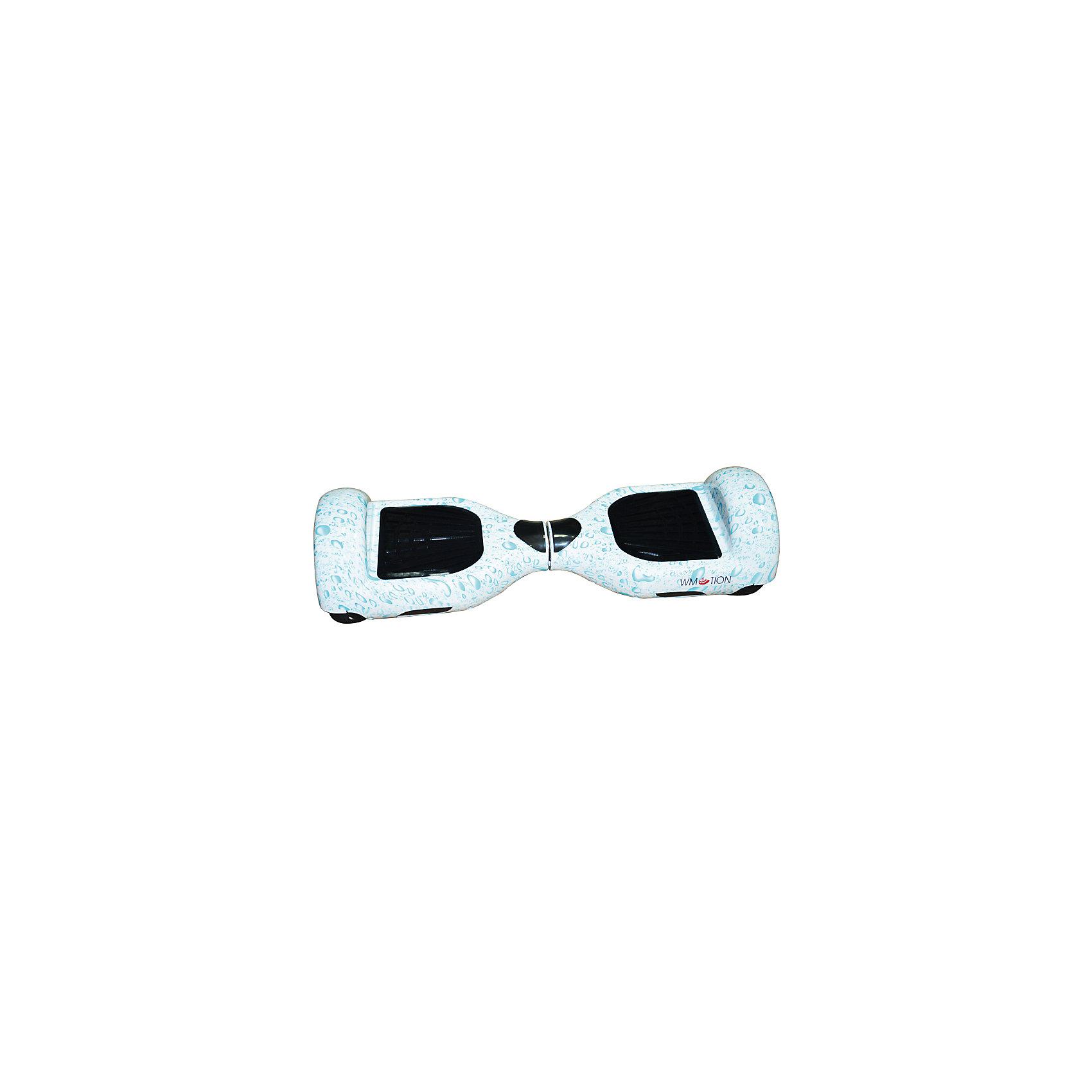 Гироскутер, капли, WMOTIONХарактеристики товара:<br><br>• материал: пластик, металл<br>• размер: 16х58х17 см<br>• комплектация: гироскутер, зарядка, сумка, инструкция по эксплуатации, гарантийный талон, коробка<br>• цвет: голубой<br>• диаметр колёс: 6,5 дюймов<br>• максимальная нагрузка: 100 кг<br>• максимальная скорость – 10 км/ч <br>• максимальное расстояние, которое можно проехать на одном заряде: 20 км <br>• мощность электродвигателя: 0.35 кВт<br>• ёмкость аккумулятора: 4 400 мАч<br>• время, необходимое для полной зарядки аккумулятора: 90 мин<br>• стильный дизайн<br>• вес: 10 кг<br>• страна производитель: Китай<br>• страна бренда: Китай<br><br>Один из самых модных на настоящий моментов вид передвижения - это гироскутер. Он эффектно выглядит, позволяет ехать со скоростью выше, чем у пешеходов, но при этом достаточно безопасной для владельца. Управлять таким средством передвижения достаточно просто: нужно всего лишь переносить вес тела в определенное направление.<br><br>Такой гироскутер достаточно быстро заряжается, он не много весит. Модель уже пользуется популярностью в западных странах. Она действительно стильно выглядит, особенно в темноте с подсветкой, и позволяет выполнять эффектные трюки!<br><br>Гироскутер, капли, от популярного бренда WMOTION можно купить в нашем интернет-магазине.<br><br>Ширина мм: 170<br>Глубина мм: 170<br>Высота мм: 580<br>Вес г: 10000<br>Возраст от месяцев: 60<br>Возраст до месяцев: 192<br>Пол: Унисекс<br>Возраст: Детский<br>SKU: 5482381