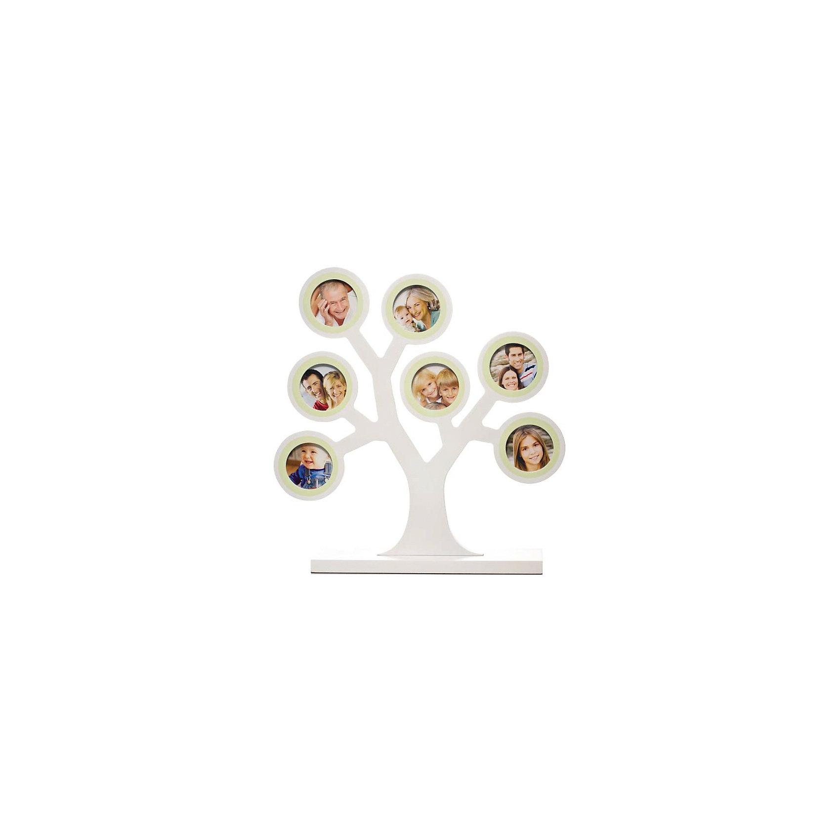 Рамочка Мое семейное дерево, PearheadПредметы интерьера<br>Характеристики:<br><br>• Пол: универсальный<br>• Тематика рисунка: без рисунка<br>• Цвет: молочный<br>• Материал: дерево<br>• Тип рамки: настольная<br>• Количество секций: 7<br>• Форма секций: круг<br>• Диаметр секций: ?4,5 см<br>• Размеры рамки (Д*Ш*В): 31*7,5*29,5 см <br>• Вес: 680 г <br>• Особенности ухода: допускается сухая и влажная чистка<br><br>Рамочка Мое семейное дерево, Pearhead изготовлена американским торговым брендом, который специализируется на создании подарочных наборов для новорожденных и их родителей. Дизайнерская рамочка для фотографий выполнена в виде дерева с ветками, на которых расположены круглые секции для фото. <br><br>У рамки-дерева устойчивое основание. Предназначена для семи фотографий. Изделие выполнено из дерева, окрашено в нейтральный цвет, поэтому подойдет для интерьера любого стилевого направления. <br><br>Рамочку Мое семейное дерево, Pearhead можно купить в нашем интернет-магазине.<br><br>Ширина мм: 75<br>Глубина мм: 295<br>Высота мм: 310<br>Вес г: 736<br>Возраст от месяцев: 0<br>Возраст до месяцев: 84<br>Пол: Унисекс<br>Возраст: Детский<br>SKU: 5482428