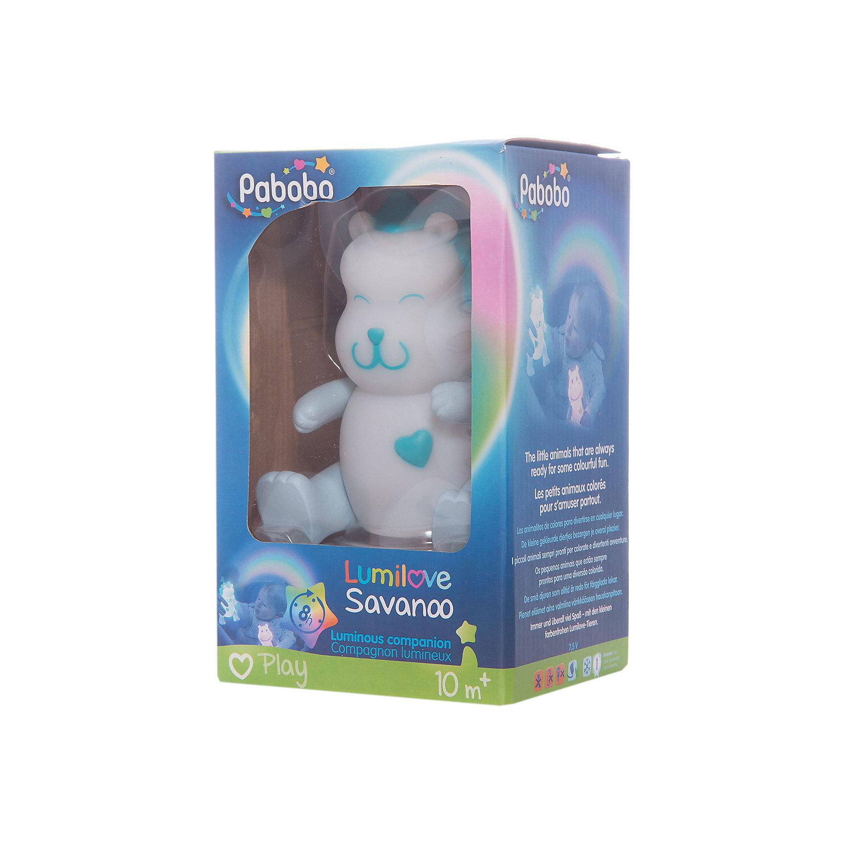 Ночник-игрушка, PaboboНочники и проекторы<br>Характеристики:<br><br>• Пол: универсальный<br>• Тематика рисунка: без рисунка<br>• Цвет: белый, голубой<br>• Материал: пластик<br>• Светодиодные лампы<br>• Мягкий рассеянный свет<br>• Во время работы не нагревается<br>• 8 часов непрерывной работы<br>• Меняется цвет освещения<br>• Подвижные передние и задние лапки<br>• Вес: 50 г <br>• Особенности ухода: допускается сухая и влажная чистка<br><br>Ночник-игрушка, Pabobo от французского торгового бренда, который занимается производством детских светильников и проекторов. При изготовлении используются качественные и безопасные материалы, которые характеризуются длительным сроком службы. Пластик, из которого изготовлен ночник, устойчив к повреждениям и появлению царапин, не имеет запаха. <br><br>Светильник оснащен светодиодными лампами, которые не нужно менять. Степень яркости автоматически регулируется в зависимости от естественного освещения. Светильник выполнен в виде львенка с подвижными лапами. Если его погладить, он меняет цвет освещения. Светильник-игрушку можно брать с собой в кровать.<br><br>Ночник-игрушку, Pabobo можно купить в нашем интернет-магазине.<br><br>Ширина мм: 95<br>Глубина мм: 75<br>Высота мм: 165<br>Вес г: 200<br>Возраст от месяцев: 10<br>Возраст до месяцев: 156<br>Пол: Унисекс<br>Возраст: Детский<br>SKU: 5482448