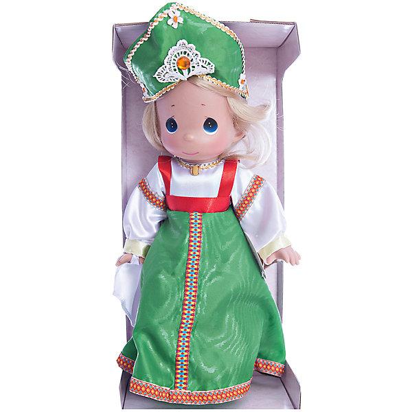 Кукла Варвара, 30 см, Precious MomentsБренды кукол<br>Характеристики товара:<br><br>• возраст: от 5 лет;<br>• материал: пластик, текстиль;<br>• высота куклы: 30 см;<br>• размер упаковки: 36х18х10 см;<br>• вес упаковки: 345 гр.;<br>• страна производитель: Филиппины.<br><br>Кукла «Варвара» Precious Moments выглядит как самая настоящая русская красавица. Она одета в традиционное народное платье, кокошник и красные туфельки. У Варвары выразительные голубые глаза и светлые мягкие волосы, заплетенные в косу.<br><br>У куклы имеются подвижные детали. Она выполнена из качественного безопасного материала.<br><br>Куклу «Варвара» Precious Moments можно приобрести в нашем интернет-магазине.<br><br>Ширина мм: 140<br>Глубина мм: 300<br>Высота мм: 80<br>Вес г: 428<br>Возраст от месяцев: 36<br>Возраст до месяцев: 2147483647<br>Пол: Женский<br>Возраст: Детский<br>SKU: 5482487