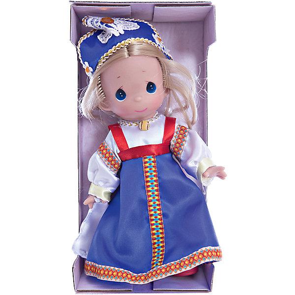 Кукла Василиса, 21 см, Precious MomentsКуклы<br>Характеристики товара:<br><br>• возраст: от 5 лет;<br>• материал: пластик, текстиль;<br>• высота куклы: 21 см;<br>• размер упаковки: 25х16х6 см;<br>• вес упаковки: 185 гр.;<br>• страна производитель: Филиппины.<br><br>Кукла «Василиса» Precious Moments выглядит как самая настоящая русская красавица. Она одета в традиционное народное платье, кокошник и красные туфельки. У Василисы выразительные голубые глаза и светлые мягкие волосы, заплетенные в косу.<br><br>У куклы имеются подвижные детали. Она выполнена из качественного безопасного материала.<br><br>Куклу «Василиса» Precious Moments можно приобрести в нашем интернет-магазине.<br><br>Ширина мм: 60<br>Глубина мм: 210<br>Высота мм: 60<br>Вес г: 110<br>Возраст от месяцев: 36<br>Возраст до месяцев: 2147483647<br>Пол: Женский<br>Возраст: Детский<br>SKU: 5482488