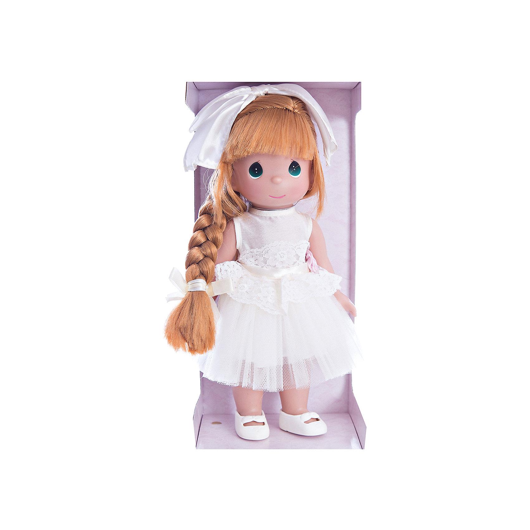 Кукла Великолепная Лилу, рыжая, 30 см, Precious MomentsКлассические куклы<br>Характеристики товара:<br><br>• возраст: от 5 лет;<br>• материал: винил, текстиль;<br>• высота куклы: 30 см;<br>• размер упаковки: 33х17х9 см;<br>• вес упаковки: 345 гр.;<br>• страна производитель: Филиппины.<br><br>Кукла «Великолепная Лилу» Precious Moments рыжая — коллекционная кукла с выразительными зелеными глазками и рыжими волосами. Куколка одета в белоснежное платье, украшенное поясом с розовым цветком. Волосы заплетены в косу и украшены бантиком.<br><br>У куклы имеются подвижные детали. Она выполнена из качественного безопасного материала.<br><br>Куклу «Великолепная Лилу» Precious Moments рыжую можно приобрести в нашем интернет-магазине.<br><br>Ширина мм: 140<br>Глубина мм: 300<br>Высота мм: 80<br>Вес г: 428<br>Возраст от месяцев: 36<br>Возраст до месяцев: 2147483647<br>Пол: Женский<br>Возраст: Детский<br>SKU: 5482493