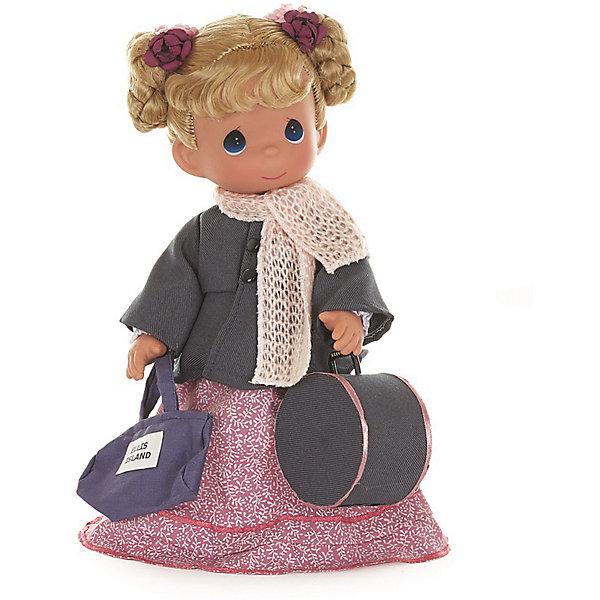 Кукла Путешественница (Польша), 30 см, Precious MomentsКуклы<br>Характеристики товара:<br><br>• возраст: от 5 лет;<br>• материал: винил, текстиль;<br>• высота куклы: 30 см;<br>• размер упаковки: 34х18х11 см;<br>• вес упаковки: 465 гр.;<br>• страна производитель: Филиппины.<br><br>Кукла «Путешественница. Польша» Precious Moments — коллекционная кукла с выразительными голубыми глазками и светлыми волосами, завязанными в хвостики. Куколка одета в розовое платье и серое пальто.<br><br>Она отправляется в путешествие, и поэтому у нее с собой дамская сумочка и вместительный овальный чемодан. У куклы имеются подвижные детали. Она выполнена из качественного безопасного материала.<br><br>Куклу «Путешественница. Польша» Precious Moments можно приобрести в нашем интернет-магазине.<br>Ширина мм: 140; Глубина мм: 300; Высота мм: 80; Вес г: 428; Возраст от месяцев: 36; Возраст до месяцев: 2147483647; Пол: Женский; Возраст: Детский; SKU: 5482496;