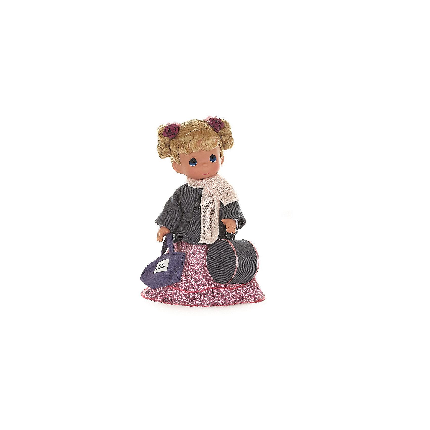 Кукла Путешественница (Польша), 30 см, Precious MomentsКлассические куклы<br>Характеристики товара:<br><br>• возраст: от 5 лет;<br>• материал: винил, текстиль;<br>• высота куклы: 30 см;<br>• размер упаковки: 34х18х11 см;<br>• вес упаковки: 465 гр.;<br>• страна производитель: Филиппины.<br><br>Кукла «Путешественница. Польша» Precious Moments — коллекционная кукла с выразительными голубыми глазками и светлыми волосами, завязанными в хвостики. Куколка одета в розовое платье и серое пальто.<br><br>Она отправляется в путешествие, и поэтому у нее с собой дамская сумочка и вместительный овальный чемодан. У куклы имеются подвижные детали. Она выполнена из качественного безопасного материала.<br><br>Куклу «Путешественница. Польша» Precious Moments можно приобрести в нашем интернет-магазине.<br><br>Ширина мм: 140<br>Глубина мм: 300<br>Высота мм: 80<br>Вес г: 428<br>Возраст от месяцев: 36<br>Возраст до месяцев: 2147483647<br>Пол: Женский<br>Возраст: Детский<br>SKU: 5482496