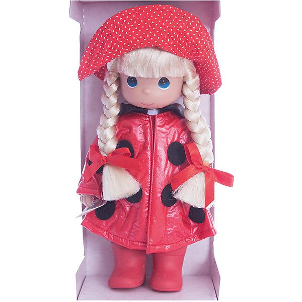 Кукла Дождь и солнце. Божья коровка, 30 см, Precious MomentsБренды кукол<br>Характеристики товара:<br><br>• возраст: от 5 лет;<br>• материал: винил, текстиль;<br>• высота куклы: 30 см;<br>• размер упаковки: 33х20х11 см;<br>• вес упаковки: 470 гр.;<br>• страна производитель: Филиппины.<br><br>Кукла «Дождь и солнце. Божья коровка» Precious Moments — коллекционная кукла с выразительными голубыми глазками и светлыми волосами, заплетенными в косички. Куколка одета в красный костюм божьей коровки с большой шляпкой.<br><br>У куклы имеются подвижные детали. Она выполнена из качественного безопасного материала.<br><br>Куклу «Дождь и солнце. Божья коровка» Precious Moments можно приобрести в нашем интернет-магазине.<br><br>Ширина мм: 140<br>Глубина мм: 300<br>Высота мм: 80<br>Вес г: 428<br>Возраст от месяцев: 36<br>Возраст до месяцев: 2147483647<br>Пол: Женский<br>Возраст: Детский<br>SKU: 5482499
