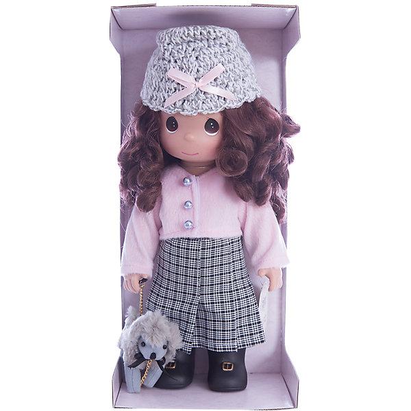 Кукла На прогулке, 30 см, Precious MomentsКуклы<br>Характеристики товара:<br><br>• возраст: от 5 лет;<br>• материал: винил, текстиль;<br>• высота куклы: 30 см;<br>• размер упаковки: 35х18х11 см;<br>• вес упаковки: 430 гр.;<br>• страна производитель: Филиппины.<br><br>Кукла «На прогулке» Precious Moments — коллекционная кукла с выразительными карими глазками и каштановыми кудрявыми волосами. Куколка одета в клетчатую юбку, розовую кофту и вязаную шапочку.<br><br>Она отправляется на прогулку вместе со своим питомцем — забавным серым щеночком. У куклы имеются подвижные детали. Она выполнена из качественного безопасного материала.<br><br>Куклу «На прогулке» Precious Moments можно приобрести в нашем интернет-магазине.<br>Ширина мм: 140; Глубина мм: 300; Высота мм: 80; Вес г: 428; Возраст от месяцев: 36; Возраст до месяцев: 2147483647; Пол: Женский; Возраст: Детский; SKU: 5482500;