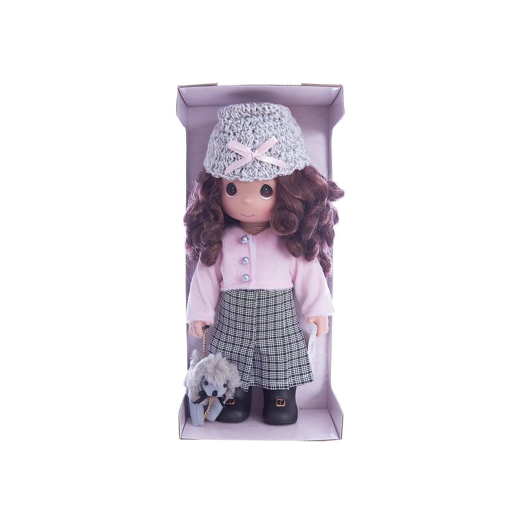 Кукла На прогулке, 30 см, Precious MomentsКлассические куклы<br>Характеристики товара:<br><br>• возраст: от 5 лет;<br>• материал: винил, текстиль;<br>• высота куклы: 30 см;<br>• размер упаковки: 35х18х11 см;<br>• вес упаковки: 430 гр.;<br>• страна производитель: Филиппины.<br><br>Кукла «На прогулке» Precious Moments — коллекционная кукла с выразительными карими глазками и каштановыми кудрявыми волосами. Куколка одета в клетчатую юбку, розовую кофту и вязаную шапочку.<br><br>Она отправляется на прогулку вместе со своим питомцем — забавным серым щеночком. У куклы имеются подвижные детали. Она выполнена из качественного безопасного материала.<br><br>Куклу «На прогулке» Precious Moments можно приобрести в нашем интернет-магазине.<br><br>Ширина мм: 140<br>Глубина мм: 300<br>Высота мм: 80<br>Вес г: 428<br>Возраст от месяцев: 36<br>Возраст до месяцев: 2147483647<br>Пол: Женский<br>Возраст: Детский<br>SKU: 5482500