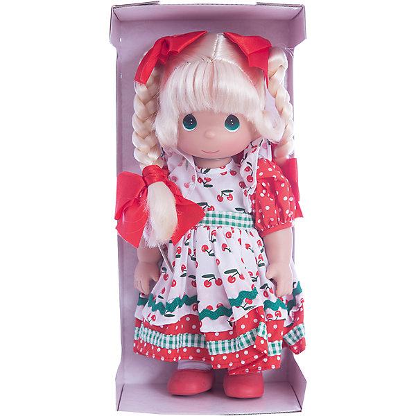 Кукла Вишневая тропинка, 30 см, Precious MomentsКуклы<br>Характеристики товара:<br><br>• возраст: от 5 лет;<br>• материал: винил, текстиль;<br>• высота куклы: 30 см;<br>• размер упаковки: 32х15х9 см;<br>• вес упаковки: 405 гр.;<br>• страна производитель: Филиппины.<br><br>Кукла «Вишневая тропинка» Precious Moments — коллекционная кукла с выразительными зелеными глазками и светлыми волосами, заплетенными в косички. На волосах завязаны ярко-красные бантики.<br><br>Куколка одета в разноцветное платье с принтом и красные туфельки. У куклы имеются подвижные детали. Она выполнена из качественного безопасного материала.<br><br>Куклу «Вишневая тропинка» Precious Moments можно приобрести в нашем интернет-магазине.<br>Ширина мм: 140; Глубина мм: 300; Высота мм: 80; Вес г: 428; Возраст от месяцев: 36; Возраст до месяцев: 2147483647; Пол: Женский; Возраст: Детский; SKU: 5482503;