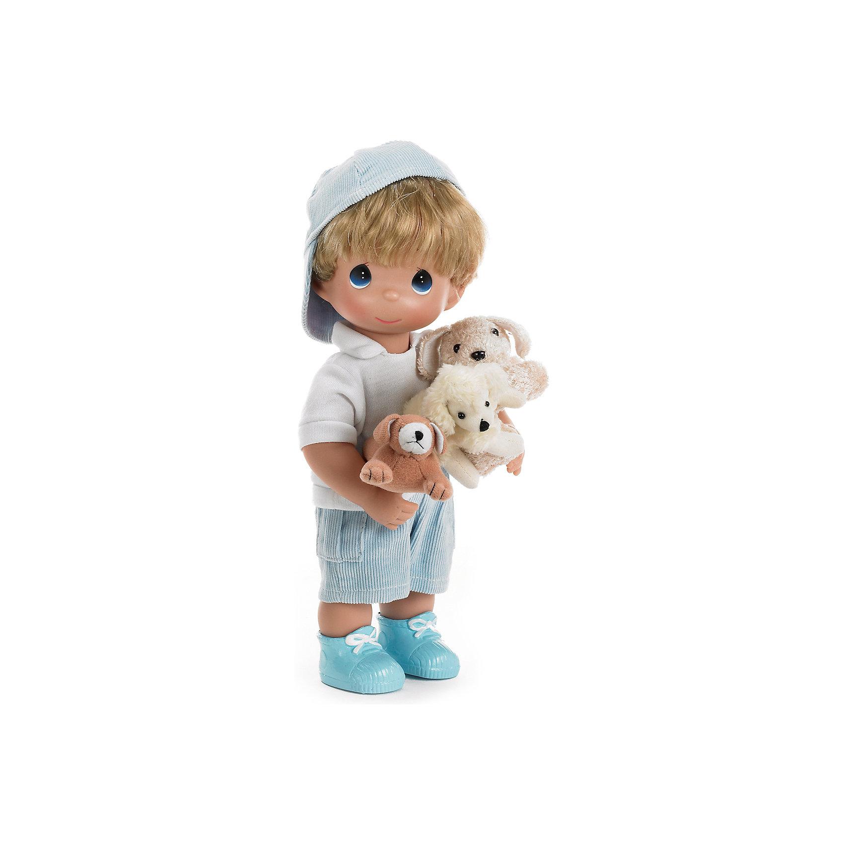 Кукла Мальчик и щенки, 30 см, Precious MomentsКлассические куклы<br>Характеристики товара:<br><br>• возраст: от 5 лет;<br>• материал: винил, текстиль;<br>• высота куклы: 30 см;<br>• размер упаковки: 33х16х12 см;<br>• вес упаковки: 395 гр.;<br>• страна производитель: Филиппины.<br><br>Кукла «Мальчик и щенки» Precious Moments — коллекционная кукла-мальчик с выразительными голубыми глазками. Мальчик одет в голубые шорты, белую футболку и ботиночки. В руках он держит 3 забавных щенков. У куклы имеются подвижные детали. Она выполнена из качественного безопасного материала.<br><br>Куклу «Мальчик и щенки» Precious Moments можно приобрести в нашем интернет-магазине.<br><br>Ширина мм: 140<br>Глубина мм: 300<br>Высота мм: 80<br>Вес г: 428<br>Возраст от месяцев: 36<br>Возраст до месяцев: 2147483647<br>Пол: Женский<br>Возраст: Детский<br>SKU: 5482505