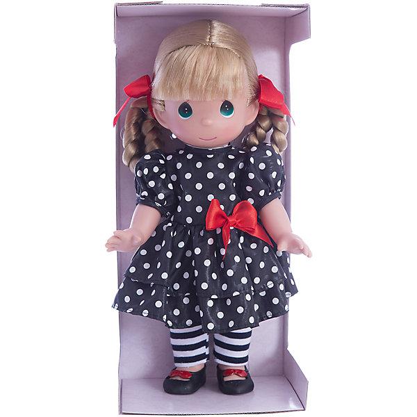 Кукла Мода навсегда, 30 см, Precious MomentsБренды кукол<br>Характеристики товара:<br><br>• возраст: от 5 лет;<br>• материал: винил, текстиль;<br>• высота куклы: 30 см;<br>• размер упаковки: 30х18х12 см;<br>• вес упаковки: 470 гр.;<br>• страна производитель: Филиппины.<br><br>Кукла «Мода навсегда» Precious Moments — коллекционная кукла с выразительными карими глазками и светлыми волосами, заплетенными в косички. Куколка одета в черное платье в белый горошек и полосатые колготки. У куклы имеются подвижные детали. Она выполнена из качественного безопасного материала.<br><br>Куклу «Мода навсегда» Precious Moments можно приобрести в нашем интернет-магазине.<br><br>Ширина мм: 140<br>Глубина мм: 300<br>Высота мм: 80<br>Вес г: 428<br>Возраст от месяцев: 36<br>Возраст до месяцев: 2147483647<br>Пол: Женский<br>Возраст: Детский<br>SKU: 5482508