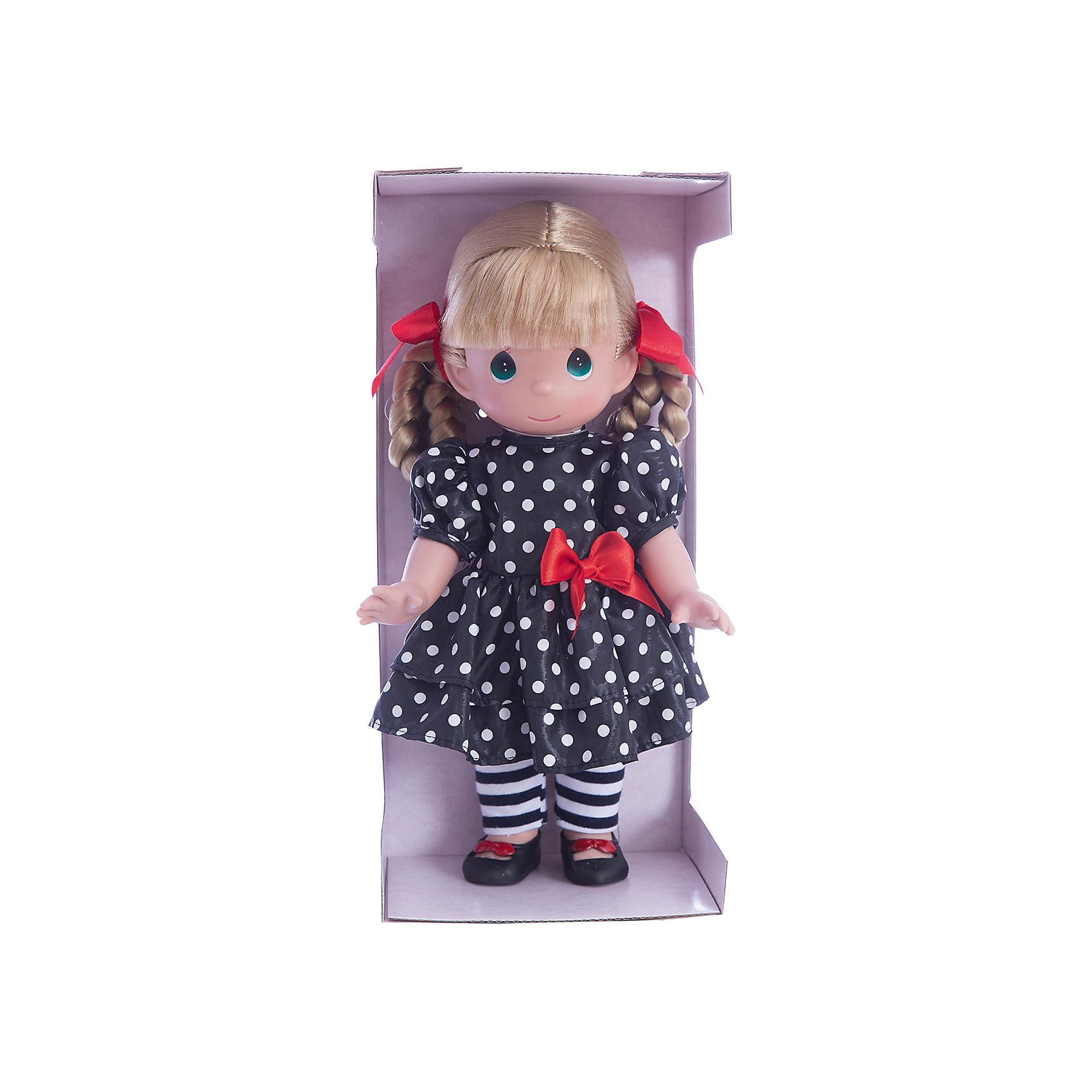 Кукла Мода навсегда, 30 см, Precious MomentsКлассические куклы<br>Характеристики товара:<br><br>• возраст: от 5 лет;<br>• материал: винил, текстиль;<br>• высота куклы: 30 см;<br>• размер упаковки: 30х18х12 см;<br>• вес упаковки: 470 гр.;<br>• страна производитель: Филиппины.<br><br>Кукла «Мода навсегда» Precious Moments — коллекционная кукла с выразительными карими глазками и светлыми волосами, заплетенными в косички. Куколка одета в черное платье в белый горошек и полосатые колготки. У куклы имеются подвижные детали. Она выполнена из качественного безопасного материала.<br><br>Куклу «Мода навсегда» Precious Moments можно приобрести в нашем интернет-магазине.<br><br>Ширина мм: 140<br>Глубина мм: 300<br>Высота мм: 80<br>Вес г: 428<br>Возраст от месяцев: 36<br>Возраст до месяцев: 2147483647<br>Пол: Женский<br>Возраст: Детский<br>SKU: 5482508